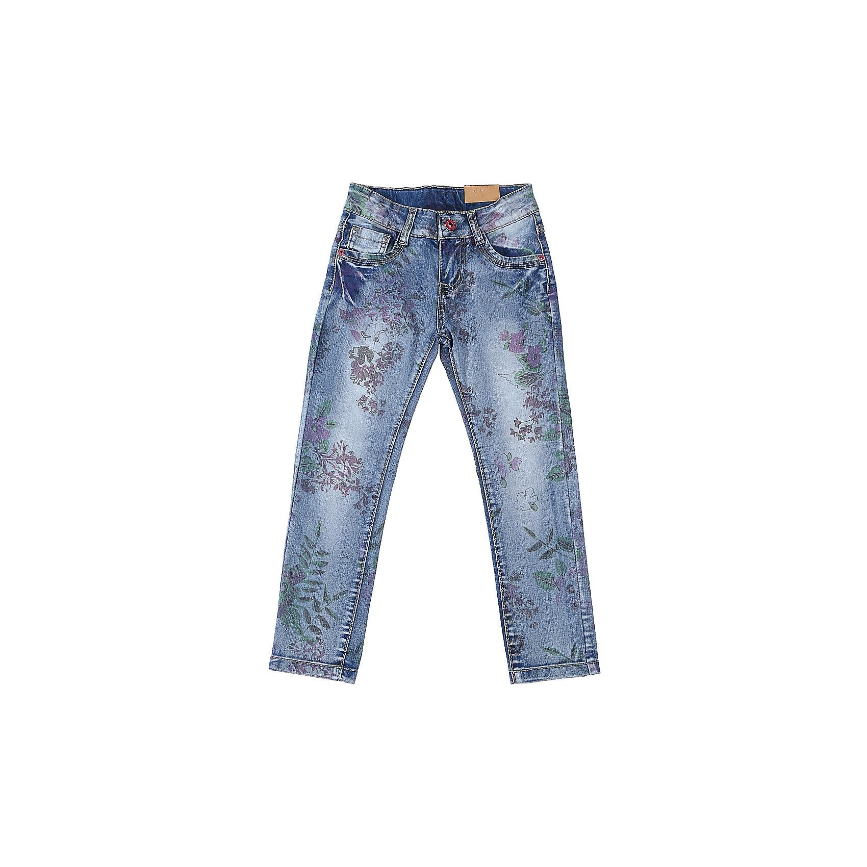 Джинсы для девочки Sweet BerryДжинсовая одежда<br>Джинсы  для девочки с оригинальной варкой и цветочным принтом. Имеют зауженный крой, среднюю посадку. Застегиваются на молнию и пуговицу. Шлевки на поясе рассчитаны под ремень. В боковой части пояса находятся вшитые эластичные ленты, регулирующие посадку по талии.<br>Состав:<br>98%хлопок 2%эластан<br><br>Ширина мм: 215<br>Глубина мм: 88<br>Высота мм: 191<br>Вес г: 336<br>Цвет: синий<br>Возраст от месяцев: 36<br>Возраст до месяцев: 48<br>Пол: Женский<br>Возраст: Детский<br>Размер: 104,98,110,116,122,128<br>SKU: 5412464