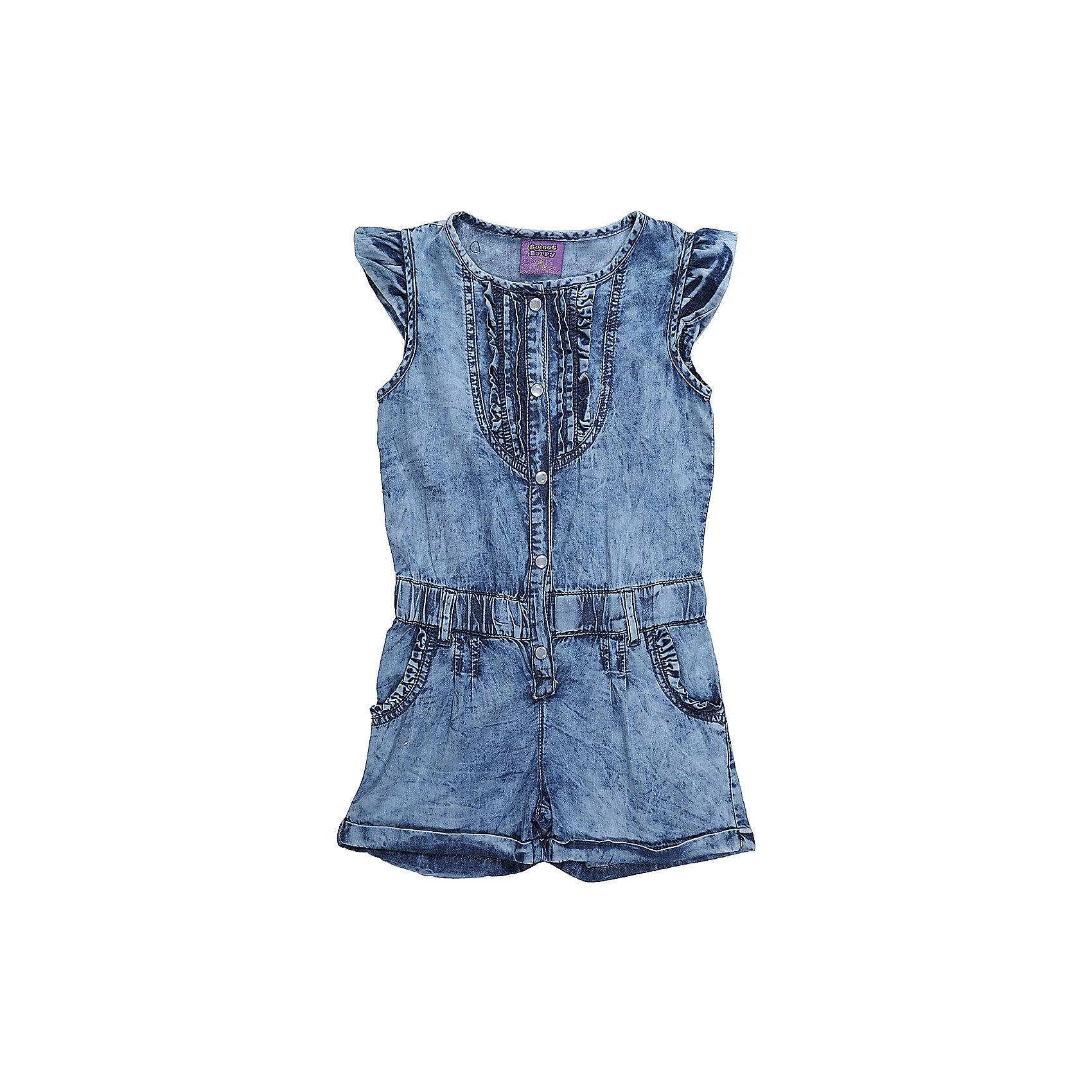 Комбинезон для девочки Sweet BerryКомбинезон из тонкой хлопковой ткани под джинсу для девочки. Рукава крылышки. Талия собрана на мягкую резинку Застежка на кнопках.<br>Состав:<br>100%хлопок<br><br>Ширина мм: 215<br>Глубина мм: 88<br>Высота мм: 191<br>Вес г: 336<br>Цвет: голубой<br>Возраст от месяцев: 36<br>Возраст до месяцев: 48<br>Пол: Женский<br>Возраст: Детский<br>Размер: 104,98,110,116,122,128<br>SKU: 5412541