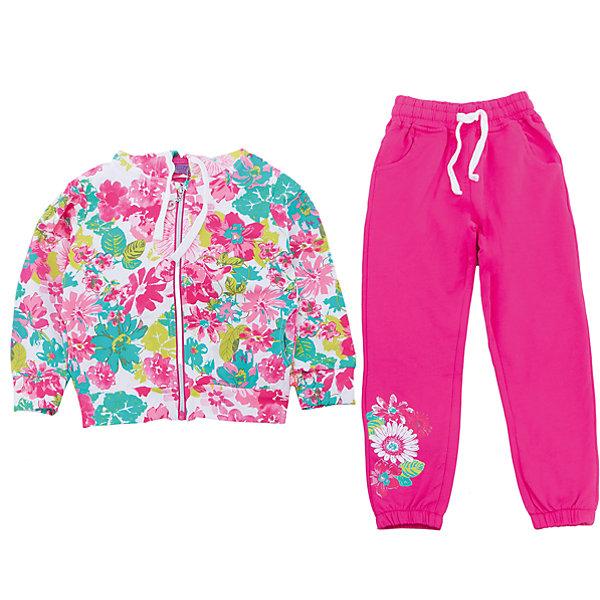 Спортивный костюм для девочки Sweet BerryКомплекты<br>Трикотажный спортивный костюм для девочки. Куртка из принтованой ткани, застегивается на молнию. Брюки спортивного стиля с зауженным низом собранные на мягкую резинку Декорированые аппликацией. Пояс-резинка дополнен шнуром для регулирования объема.<br>Состав:<br>95%хлопок 5%эластан<br>Ширина мм: 247; Глубина мм: 16; Высота мм: 140; Вес г: 225; Цвет: белый; Возраст от месяцев: 24; Возраст до месяцев: 36; Пол: Женский; Возраст: Детский; Размер: 98,104,128,122,116,110; SKU: 5412569;