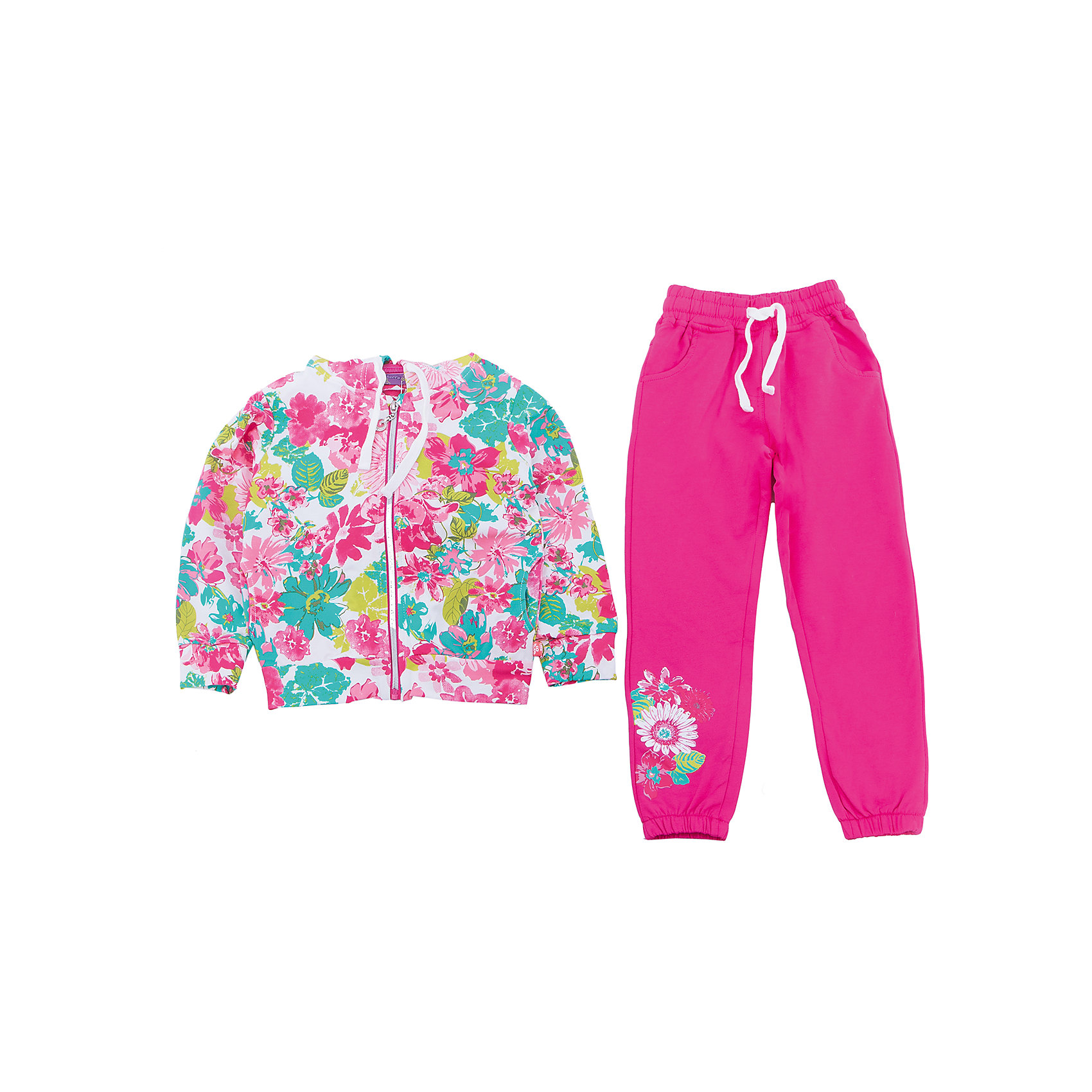 Спортивный костюм для девочки Sweet BerryТрикотажный спортивный костюм для девочки. Куртка из принтованой ткани, застегивается на молнию. Брюки спортивного стиля с зауженным низом собранные на мягкую резинку Декорированые аппликацией. Пояс-резинка дополнен шнуром для регулирования объема.<br>Состав:<br>95%хлопок 5%эластан<br><br>Ширина мм: 247<br>Глубина мм: 16<br>Высота мм: 140<br>Вес г: 225<br>Цвет: разноцветный<br>Возраст от месяцев: 36<br>Возраст до месяцев: 48<br>Пол: Женский<br>Возраст: Детский<br>Размер: 104,98,110,116,122,128<br>SKU: 5412569
