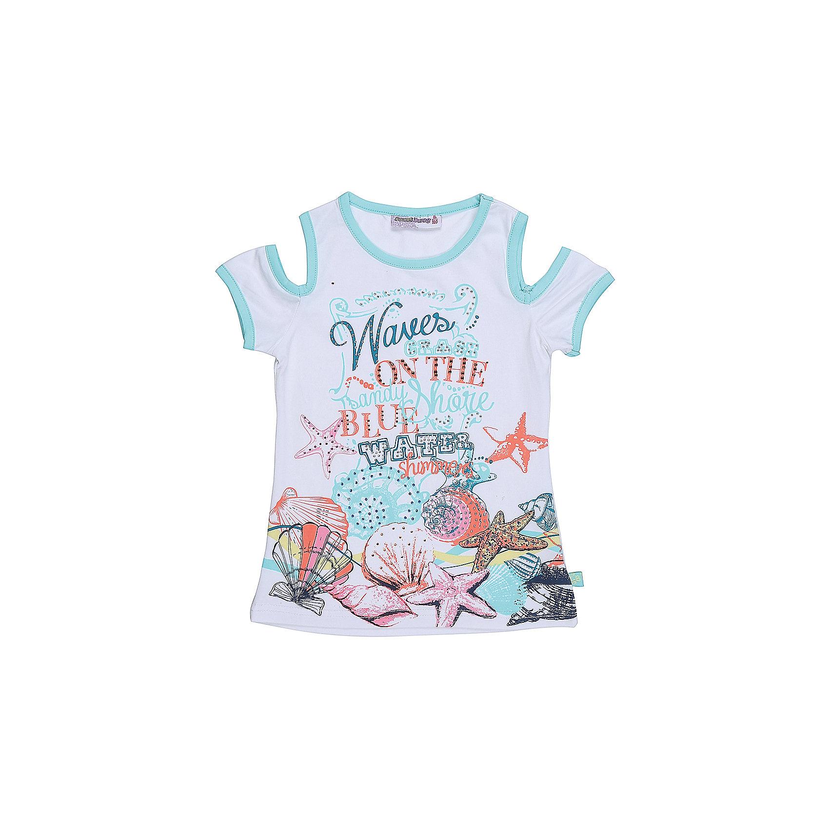 Футболка для девочки Sweet BerryСтильная футболка из трикотажной, мягкой ткани для девочки с коротким рукавом. Декорирована оригинальным принтом.<br>Состав:<br>95%хлопок 5%эластан<br><br>Ширина мм: 199<br>Глубина мм: 10<br>Высота мм: 161<br>Вес г: 151<br>Цвет: белый<br>Возраст от месяцев: 36<br>Возраст до месяцев: 48<br>Пол: Женский<br>Возраст: Детский<br>Размер: 104,98,110,116,122,128<br>SKU: 5412661