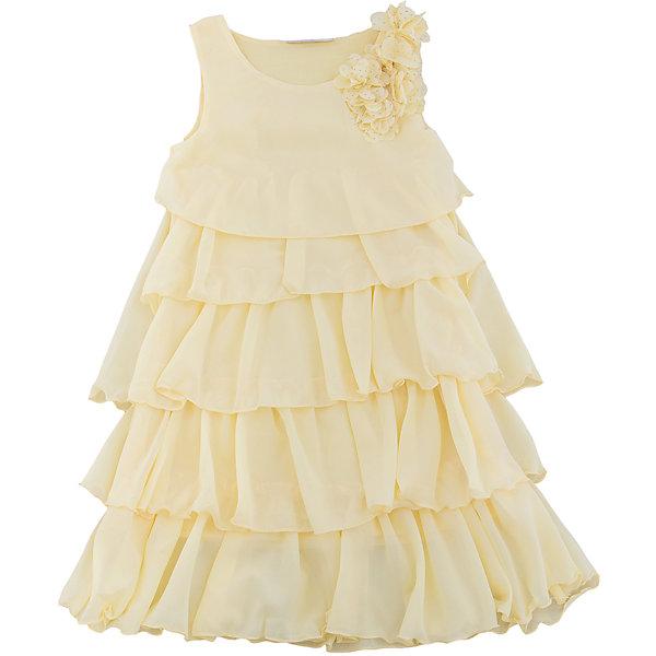 Платье для девочки Sweet BerryОдежда<br>Стильное платье для девочки из многослойной ткани. Лиф платья декорирован цветами. Свободный крой.<br>Состав:<br>Верх: 100% полиэстер, Подкладка: 100%хлопок<br>Ширина мм: 236; Глубина мм: 16; Высота мм: 184; Вес г: 177; Цвет: желтый; Возраст от месяцев: 36; Возраст до месяцев: 48; Пол: Женский; Возраст: Детский; Размер: 104,98,128,122,116,110; SKU: 5412717;