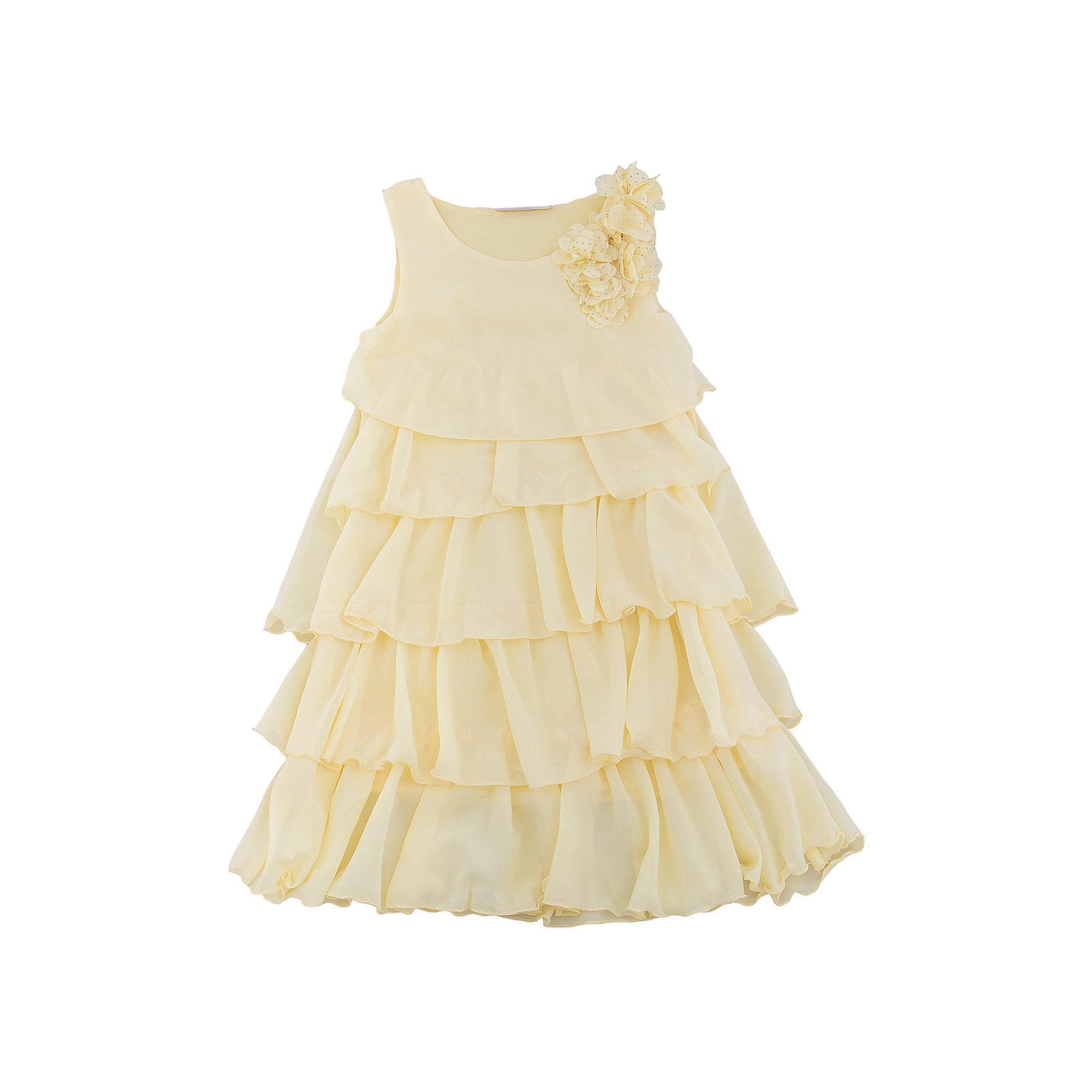 Платье для девочки Sweet BerryОдежда<br>Стильное платье для девочки из многослойной ткани. Лиф платья декорирован цветами. Свободный крой.<br>Состав:<br>Верх: 100% полиэстер, Подкладка: 100%хлопок<br><br>Ширина мм: 236<br>Глубина мм: 16<br>Высота мм: 184<br>Вес г: 177<br>Цвет: желтый<br>Возраст от месяцев: 36<br>Возраст до месяцев: 48<br>Пол: Женский<br>Возраст: Детский<br>Размер: 104,98,110,116,122,128<br>SKU: 5412717