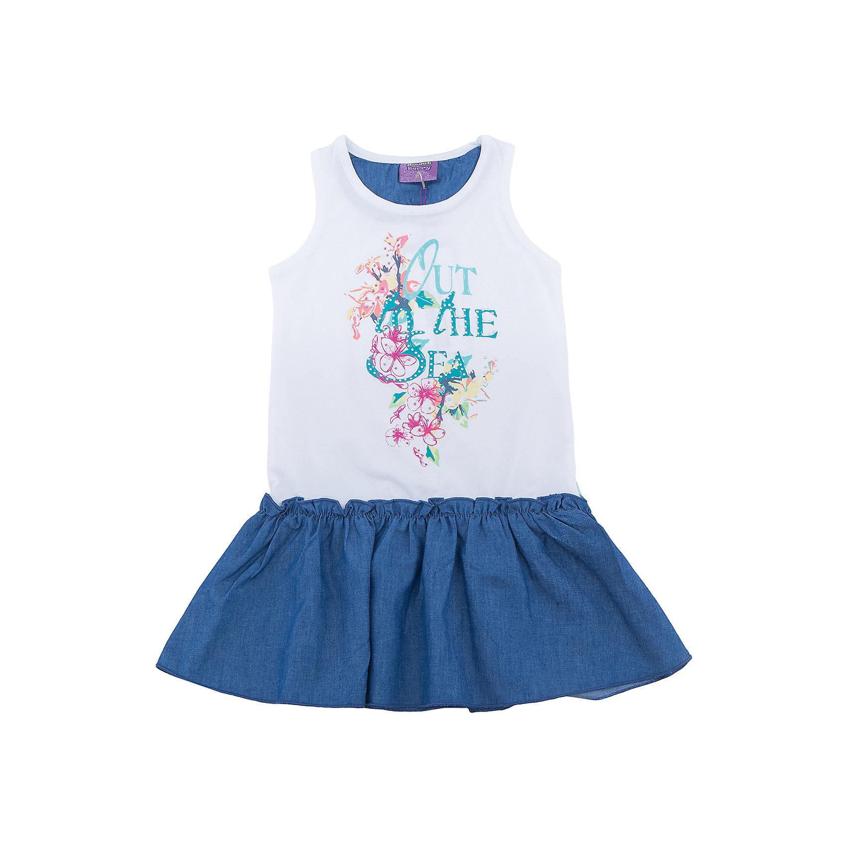 Платье для девочки Sweet BerryПлатья и сарафаны<br>Платье для девочки из трикотажной ткани декорированное ярким принтом и контрастным воланом по низу изделия.<br>Состав:<br>95%хлопок 5%эластан<br><br>Ширина мм: 236<br>Глубина мм: 16<br>Высота мм: 184<br>Вес г: 177<br>Цвет: белый<br>Возраст от месяцев: 36<br>Возраст до месяцев: 48<br>Пол: Женский<br>Возраст: Детский<br>Размер: 98,110,116,122,128,104<br>SKU: 5412776