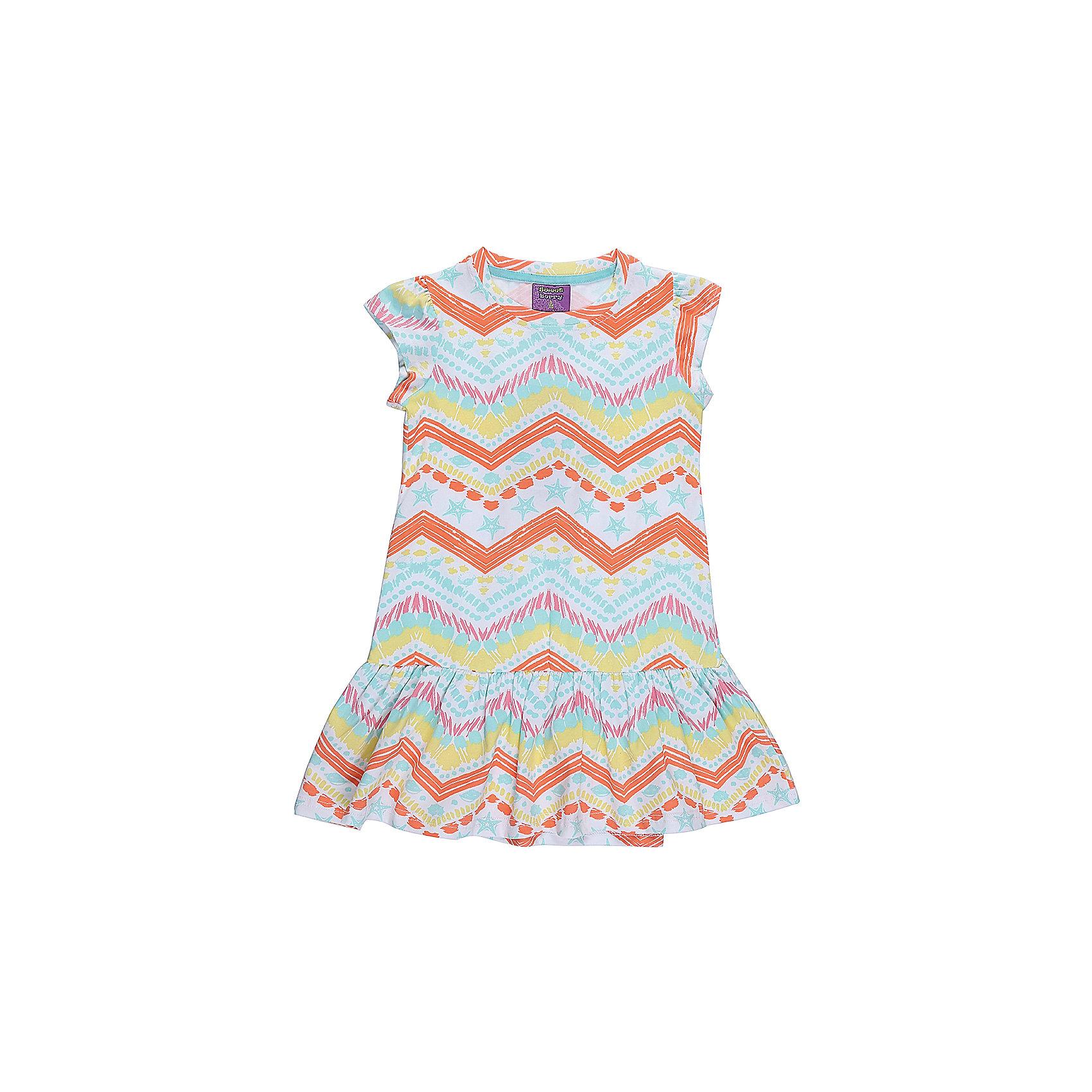 Платье для девочки Sweet BerryЛетние платья и сарафаны<br>Платье для девочки из трикотажной ткани с оригинальным принтом. Декорирован воланом по низу изделия.<br>Состав:<br>95%хлопок 5%эластан<br><br>Ширина мм: 236<br>Глубина мм: 16<br>Высота мм: 184<br>Вес г: 177<br>Цвет: разноцветный<br>Возраст от месяцев: 36<br>Возраст до месяцев: 48<br>Пол: Женский<br>Возраст: Детский<br>Размер: 104,98,110,116,122,128<br>SKU: 5412794