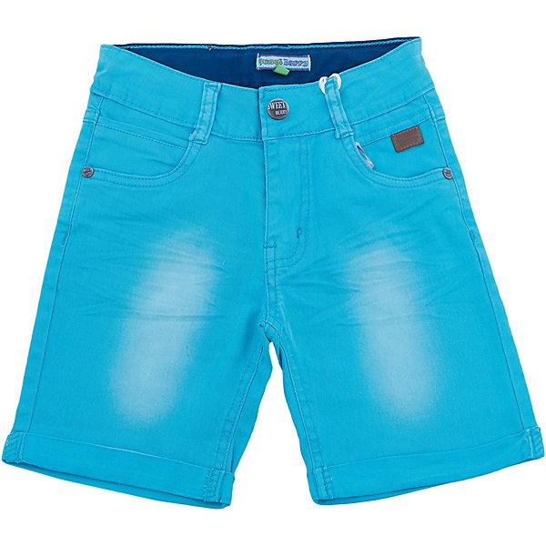 Шорты для мальчика Sweet BerryШорты, бриджи, капри<br>Джинсовые шорты для мальчиков. Ткань хлопковая с эластаном, позволяющая чувствовать себя удобно и комфортно, не линяет и не садится. Штанины с подворотом. Пояс с петлями под ремень. Впереди на штанинах есть небольшие потертости более светлого цвета, что делает бриджи модными. В сочетании с подходящей футболкой могут быть нарядным элементом одежды.<br>Состав:<br>98% хлопок, 2% эластан<br>Ширина мм: 191; Глубина мм: 10; Высота мм: 175; Вес г: 273; Цвет: голубой; Возраст от месяцев: 24; Возраст до месяцев: 36; Пол: Мужской; Возраст: Детский; Размер: 98,104,128,122,116,110; SKU: 5412920;
