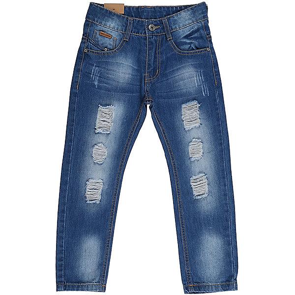 Джинсы для мальчика Sweet BerryДжинсовая одежда<br>Джинсы  для мальчика с оригинальной варкой. Декорированы  потертости и эффектом рваной джинсы. Зауженный крой, средняя посадка. Застегиваются на молнию и пуговицу. Шлевки на поясе рассчитаны под ремень. В боковой части пояса находятся вшитые эластичные ленты, регулирующие посадку по талии.<br>Состав:<br>100%хлопок<br>Ширина мм: 215; Глубина мм: 88; Высота мм: 191; Вес г: 336; Цвет: синий; Возраст от месяцев: 24; Возраст до месяцев: 36; Пол: Мужской; Возраст: Детский; Размер: 98,110,104,128,122,116; SKU: 5412934;