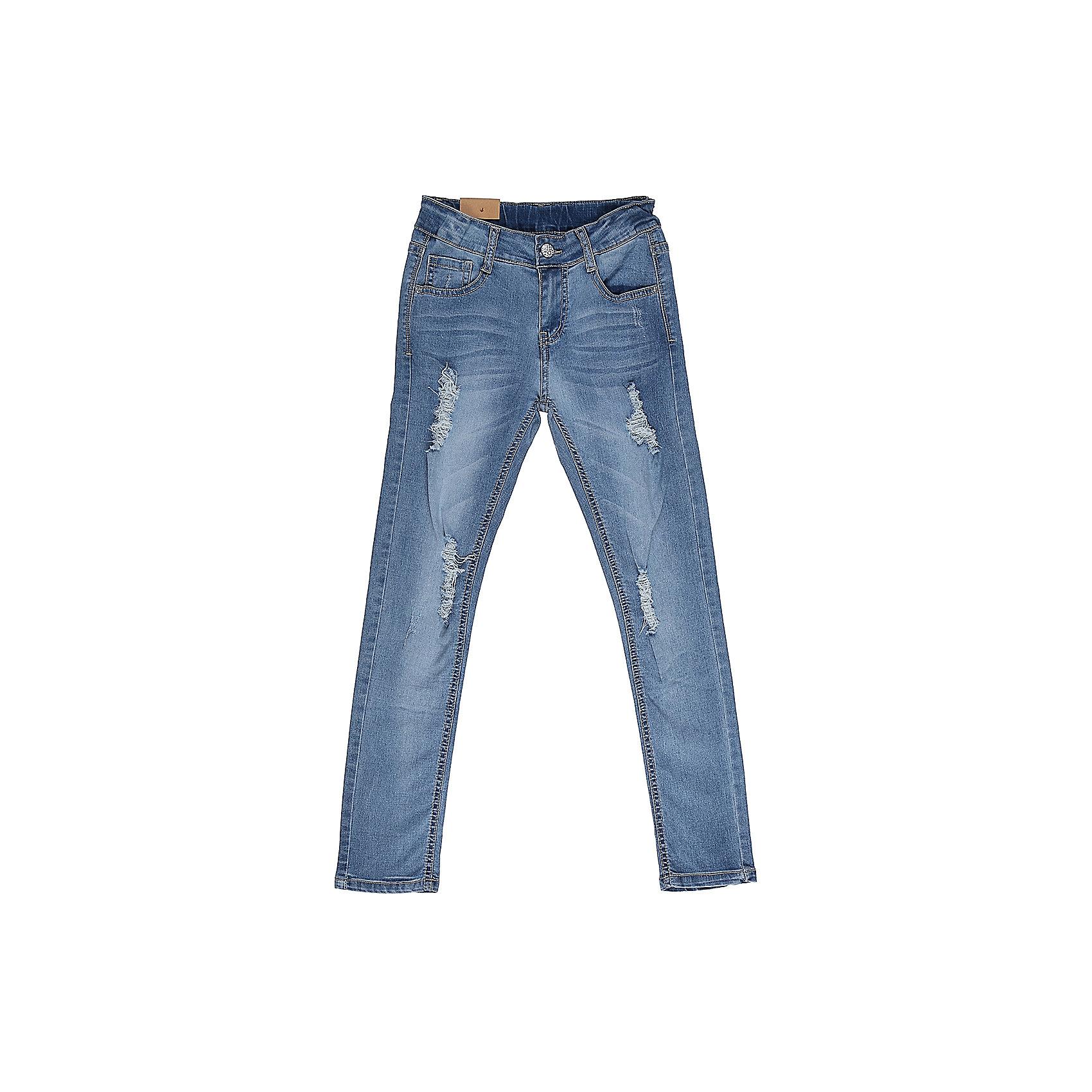 Джинсы для девочки LuminosoДжинсовая одежда<br>Джинсы  для девочки с оригинальной варкой, эффектами потертости и рваной джинсы. Имеют зауженный крой, среднюю посадку. Застегиваются на молнию и пуговицу. Шлевки на поясе рассчитаны под ремень. В боковой части пояса находятся вшитые эластичные ленты, регулирующие посадку по талии.<br>Состав:<br>98%хлопок 2%эластан<br><br>Ширина мм: 215<br>Глубина мм: 88<br>Высота мм: 191<br>Вес г: 336<br>Цвет: голубой<br>Возраст от месяцев: 96<br>Возраст до месяцев: 108<br>Пол: Женский<br>Возраст: Детский<br>Размер: 134,140,146,152,158,164<br>SKU: 5413014