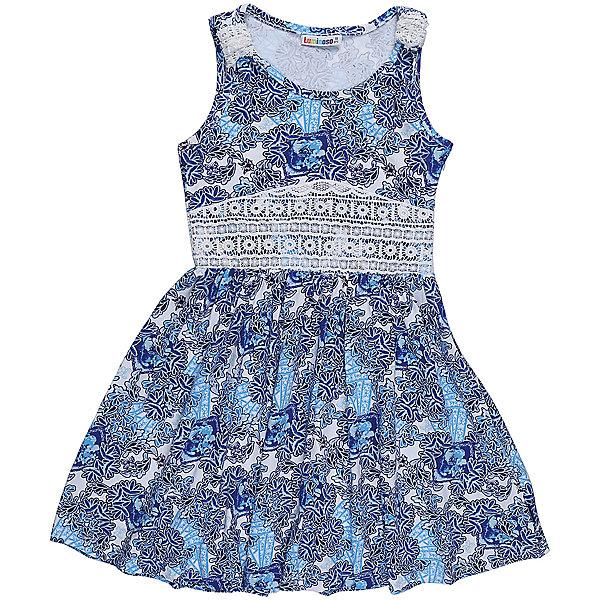 Платье для девочки LuminosoПлатья и сарафаны<br>Трикотажное платье для девочки из принтованной ткани. Пояс платья декорирован контрастным кружевным плетением. Приталенный крой.<br>Состав:<br>95%хлопок 5%эластан<br><br>Ширина мм: 236<br>Глубина мм: 16<br>Высота мм: 184<br>Вес г: 177<br>Цвет: голубой<br>Возраст от месяцев: 108<br>Возраст до месяцев: 120<br>Пол: Женский<br>Возраст: Детский<br>Размер: 140,134,164,158,152,146<br>SKU: 5413021