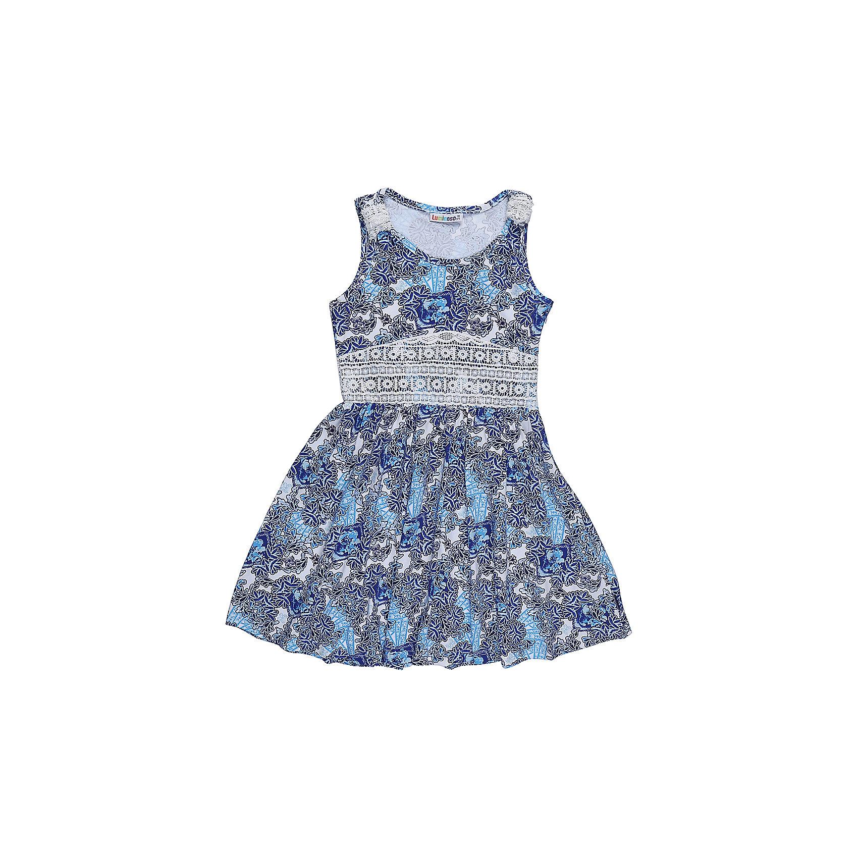 Платье для девочки LuminosoПлатья и сарафаны<br>Трикотажное платье для девочки из принтованной ткани. Пояс платья декорирован контрастным кружевным плетением. Приталенный крой.<br>Состав:<br>95%хлопок 5%эластан<br><br>Ширина мм: 236<br>Глубина мм: 16<br>Высота мм: 184<br>Вес г: 177<br>Цвет: голубой<br>Возраст от месяцев: 96<br>Возраст до месяцев: 108<br>Пол: Женский<br>Возраст: Детский<br>Размер: 134,140,146,152,158,164<br>SKU: 5413021