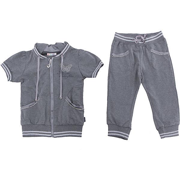 Спортивный костюм для девочки LuminosoКомплекты<br>Костюм для девочки из мягкого трикотажа. Куртка застегивается на молнию. Спинка декорирована аппликацией из бархата. Брюки укороченного кроя с зауженным низом собранные на мягкую резинку. Пояс-резинка дополнен шнуром для регулирования объема.<br>Состав:<br>95%хлопок 5%эластан<br>Ширина мм: 247; Глубина мм: 16; Высота мм: 140; Вес г: 225; Цвет: серый; Возраст от месяцев: 120; Возраст до месяцев: 132; Пол: Женский; Возраст: Детский; Размер: 146,140,134,164,158,152; SKU: 5413059;