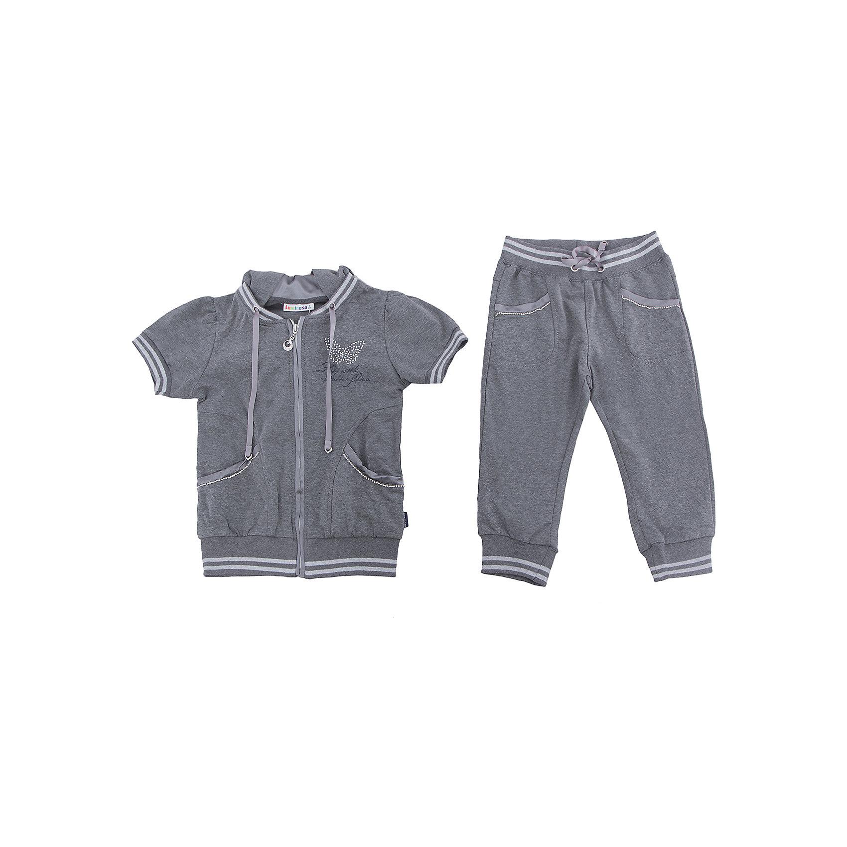 Спортивный костюм для девочки LuminosoКомплекты<br>Костюм для девочки из мягкого трикотажа. Куртка застегивается на молнию. Спинка декорирована аппликацией из бархата. Брюки укороченного кроя с зауженным низом собранные на мягкую резинку. Пояс-резинка дополнен шнуром для регулирования объема.<br>Состав:<br>95%хлопок 5%эластан<br><br>Ширина мм: 247<br>Глубина мм: 16<br>Высота мм: 140<br>Вес г: 225<br>Цвет: серый<br>Возраст от месяцев: 108<br>Возраст до месяцев: 120<br>Пол: Женский<br>Возраст: Детский<br>Размер: 140,134,164,158,152,146<br>SKU: 5413059