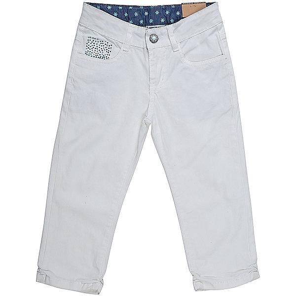 Бриджи джинсовые для девочки LuminosoДжинсовая одежда<br>Джинсовые бриджи для девочки. Декорированые стразами. Застегиваются на молнию и пуговицу. Имеют зауженный крой, среднюю посадку. Шлевки на поясе рассчитаны под ремень. В боковой части пояса находятся вшитые эластичные ленты, регулирующие посадку по талии.<br>Состав:<br>98%хлопок 2%эластан<br><br>Ширина мм: 191<br>Глубина мм: 10<br>Высота мм: 175<br>Вес г: 273<br>Цвет: белый<br>Возраст от месяцев: 108<br>Возраст до месяцев: 120<br>Пол: Женский<br>Возраст: Детский<br>Размер: 140,134,164,158,152,146<br>SKU: 5413094