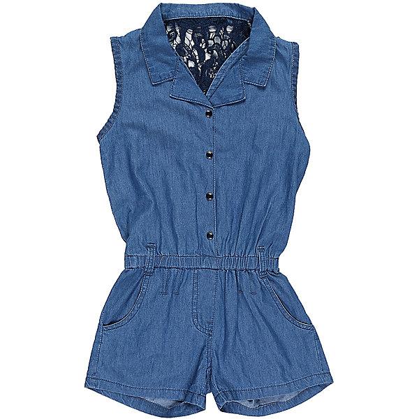 Комбинезон джинсовый для девочки LuminosoДжинсовая одежда<br>Комбинезон из тонкой хлопковой ткани под джинсу для девочки без рукавов. Спинка декорирована плетеным кружевом. Отложной воротничок. Застежка на кнопках.<br>Состав:<br>100%хлопок<br>Ширина мм: 215; Глубина мм: 88; Высота мм: 191; Вес г: 336; Цвет: синий; Возраст от месяцев: 108; Возраст до месяцев: 120; Пол: Женский; Возраст: Детский; Размер: 140,134,164,158,152,146; SKU: 5413129;