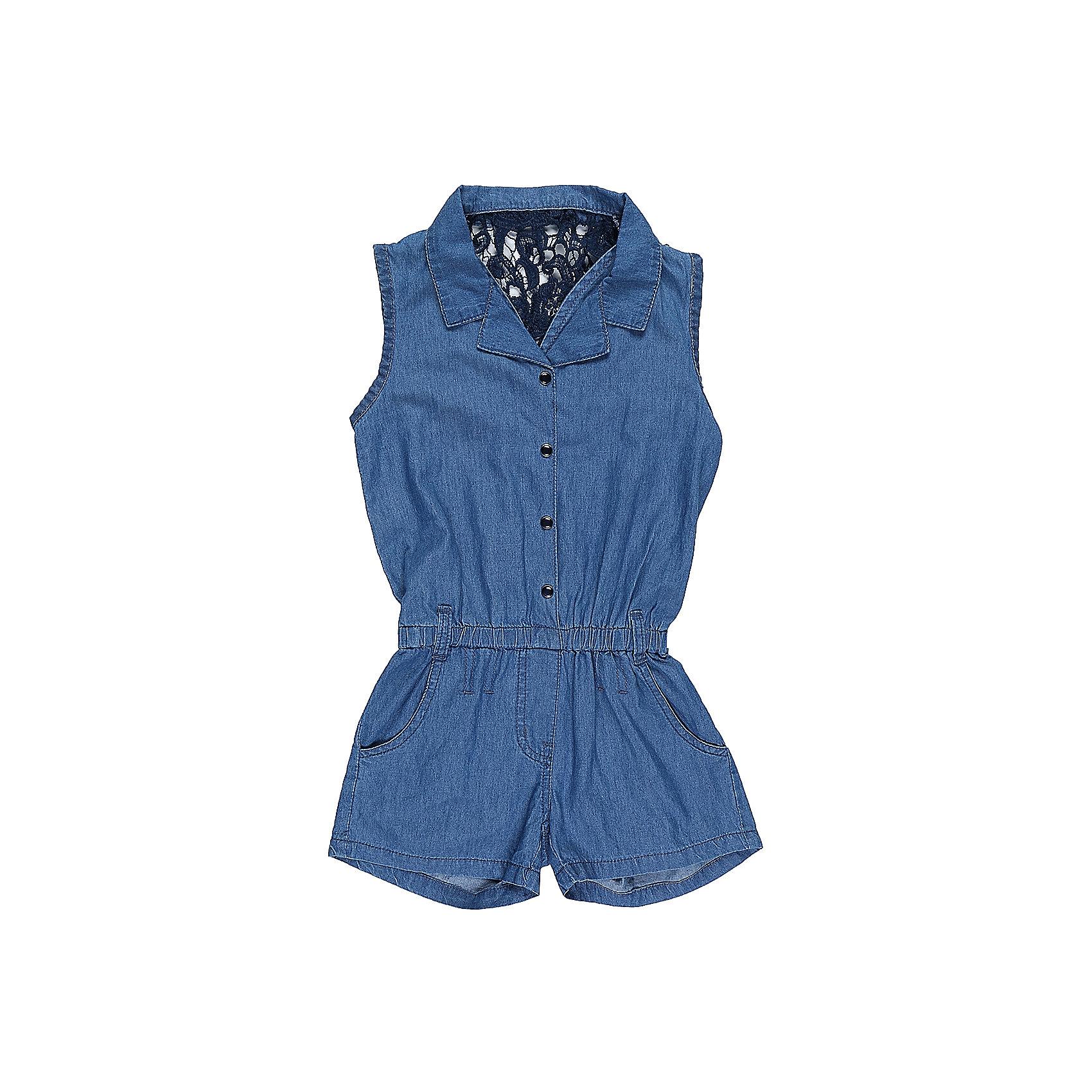 Комбинезон для девочки LuminosoКомбинезон из тонкой хлопковой ткани под джинсу для девочки без рукавов. Спинка декорирована плетеным кружевом. Отложной воротничок. Застежка на кнопках.<br>Состав:<br>100%хлопок<br><br>Ширина мм: 215<br>Глубина мм: 88<br>Высота мм: 191<br>Вес г: 336<br>Цвет: синий<br>Возраст от месяцев: 156<br>Возраст до месяцев: 168<br>Пол: Женский<br>Возраст: Детский<br>Размер: 164,140,146,152,134,158<br>SKU: 5413129