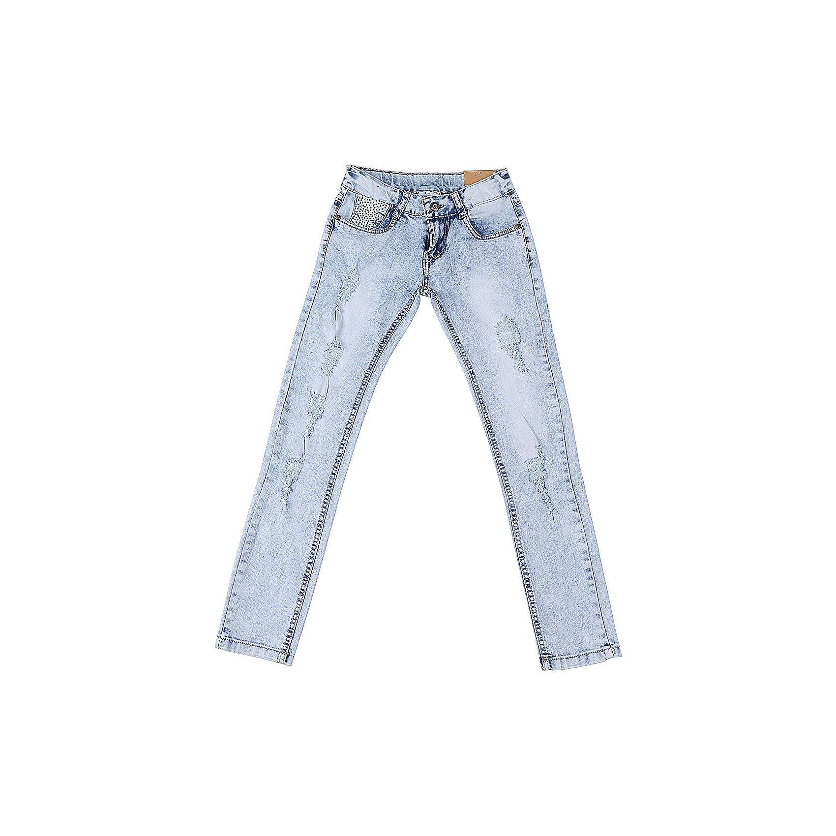 Джинсы для девочки LuminosoДжинсы<br>Джинсы  для девочки с оригинальной варкой, эффектами потертости и рваной джинсы. Имеют зауженный крой, среднюю посадку. Застегиваются на молнию и пуговицу. Шлевки на поясе рассчитаны под ремень. В боковой части пояса находятся вшитые эластичные ленты, регулирующие посадку по талии.<br>Состав:<br>98%хлопок 2%эластан<br><br>Ширина мм: 215<br>Глубина мм: 88<br>Высота мм: 191<br>Вес г: 336<br>Цвет: белый<br>Возраст от месяцев: 96<br>Возраст до месяцев: 108<br>Пол: Женский<br>Возраст: Детский<br>Размер: 134,140,158,164,146,152<br>SKU: 5413143