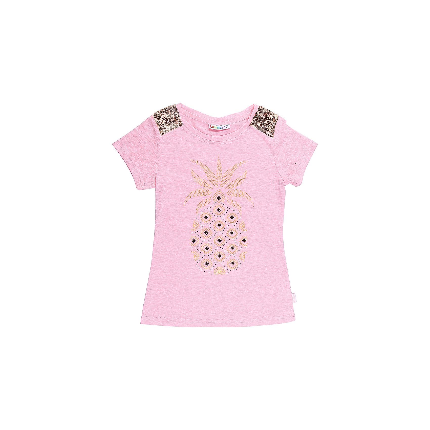 Футболка для девочки LuminosoФутболки, поло и топы<br>Стильная футболка из трикотажной ткани для девочки с коротким рукавом. Декорирована яркой аппликацией и пайетками.<br>Состав:<br>62%хлопок 26%полиэстер 12%вискоза<br><br>Ширина мм: 199<br>Глубина мм: 10<br>Высота мм: 161<br>Вес г: 151<br>Цвет: оранжевый<br>Возраст от месяцев: 96<br>Возраст до месяцев: 108<br>Пол: Женский<br>Возраст: Детский<br>Размер: 134,140,146,152,158,164<br>SKU: 5413154