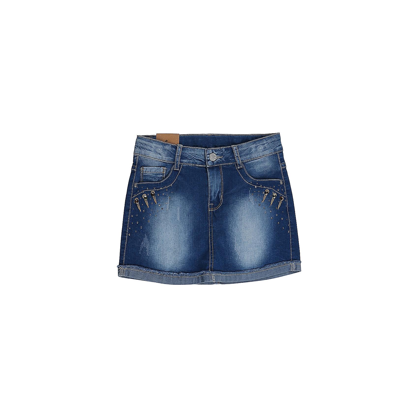 Юбка джинсовая для девочки LuminosoЮбки<br>Джинсовая юбка оригинальной варки  для девочки. Карманы Декорированы стразами. Пояс с регулировкой внутренней резинкой.<br>Состав:<br>98%хлопок 2%эластан<br><br>Ширина мм: 207<br>Глубина мм: 10<br>Высота мм: 189<br>Вес г: 183<br>Цвет: синий<br>Возраст от месяцев: 96<br>Возраст до месяцев: 108<br>Пол: Женский<br>Возраст: Детский<br>Размер: 134,140,146,152,158,164<br>SKU: 5413200