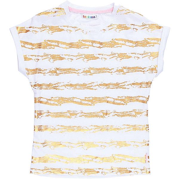 Футболка для девочки LuminosoФутболки, поло и топы<br>Стильная футболка из трикотажной ткани для девочки с коротким рукавом. Декорирована яркими золотымиполосами.<br>Состав:<br>95%хлопок 5%эластан<br><br>Ширина мм: 199<br>Глубина мм: 10<br>Высота мм: 161<br>Вес г: 151<br>Цвет: белый<br>Возраст от месяцев: 108<br>Возраст до месяцев: 120<br>Пол: Женский<br>Возраст: Детский<br>Размер: 134,164,158,152,146,140<br>SKU: 5413221