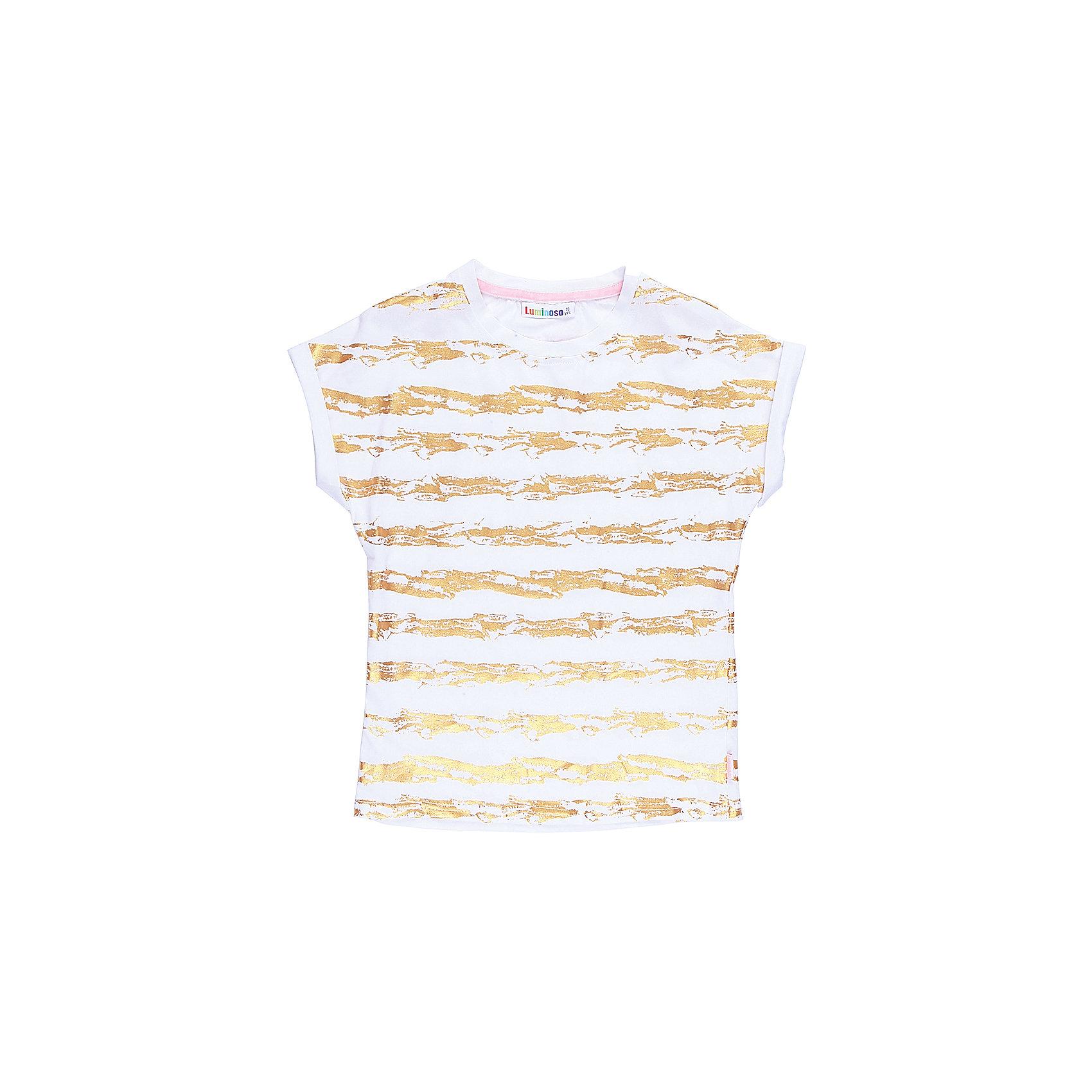 Футболка для девочки LuminosoФутболки, поло и топы<br>Стильная футболка из трикотажной ткани для девочки с коротким рукавом. Декорирована яркими золотымиполосами.<br>Состав:<br>95%хлопок 5%эластан<br><br>Ширина мм: 199<br>Глубина мм: 10<br>Высота мм: 161<br>Вес г: 151<br>Цвет: белый<br>Возраст от месяцев: 96<br>Возраст до месяцев: 108<br>Пол: Женский<br>Возраст: Детский<br>Размер: 134,140,146,152,158,164<br>SKU: 5413221
