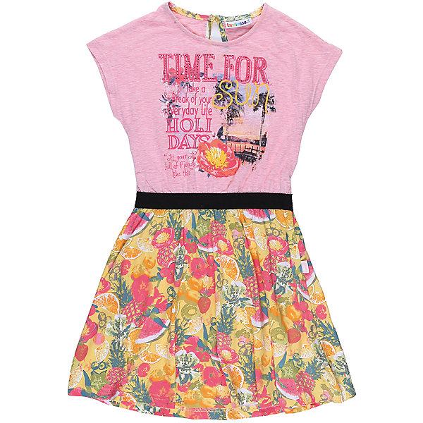 Платье для девочки LuminosoПлатья и сарафаны<br>Трикотажное платье для девочки из комбинировванной ткани. Верх изделия декорирован оригинальной аппликацией, талия подчеркнута контрасттной тканью, низ изделия выполнен из яркой принтованной ткани. Застегивается на пуговку на спинкке. Приталенный крой.<br>Состав:<br>95%хлопок 5%эластан<br>Ширина мм: 236; Глубина мм: 16; Высота мм: 184; Вес г: 177; Цвет: белый; Возраст от месяцев: 108; Возраст до месяцев: 120; Пол: Женский; Возраст: Детский; Размер: 140,134,164,158,152,146; SKU: 5413242;