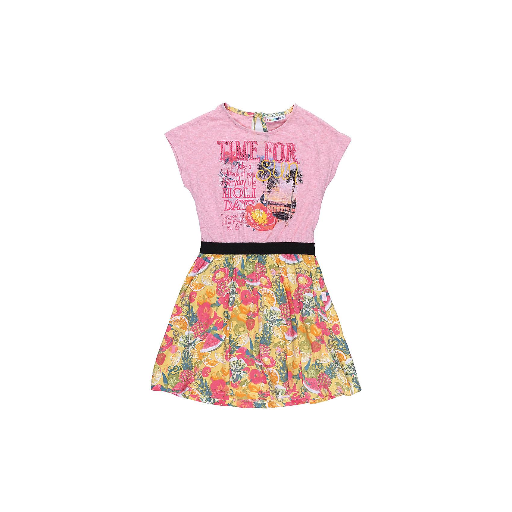 Платье для девочки LuminosoПлатья и сарафаны<br>Трикотажное платье для девочки из комбинировванной ткани. Верх изделия декорирован оригинальной аппликацией, талия подчеркнута контрасттной тканью, низ изделия выполнен из яркой принтованной ткани. Застегивается на пуговку на спинкке. Приталенный крой.<br>Состав:<br>95%хлопок 5%эластан<br><br>Ширина мм: 236<br>Глубина мм: 16<br>Высота мм: 184<br>Вес г: 177<br>Цвет: белый<br>Возраст от месяцев: 108<br>Возраст до месяцев: 120<br>Пол: Женский<br>Возраст: Детский<br>Размер: 140,134,164,158,152,146<br>SKU: 5413242