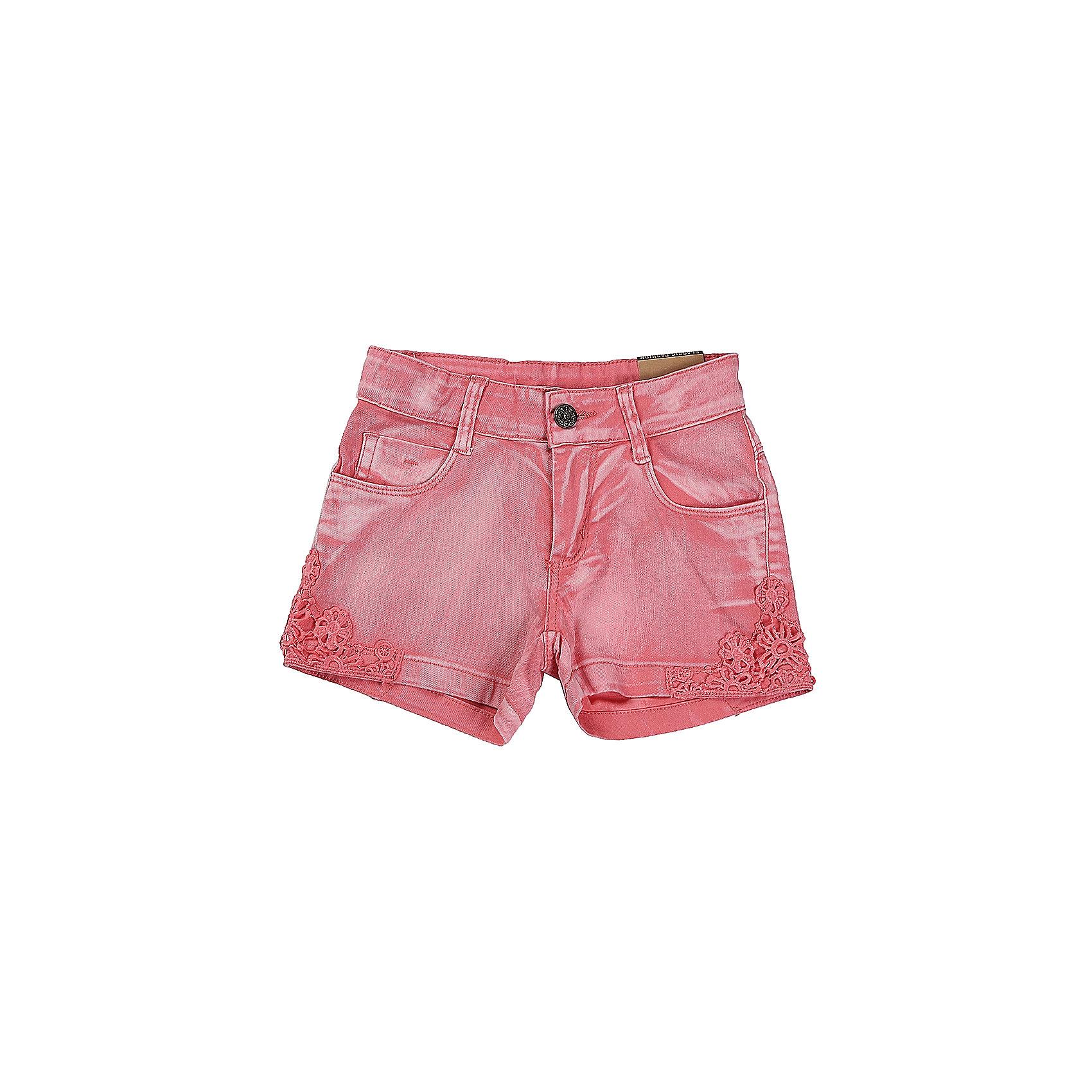 Шорты джинсовые для девочки LuminosoДжинсовая одежда<br>Коралловые шорты для девочки декорированой плетеным кружевом. Два боковых кармана. В боковой части пояса находятся вшитые эластичные ленты, регулирующие посадку по талии.<br>Состав:<br>98%хлопок 2%эластан<br><br>Ширина мм: 191<br>Глубина мм: 10<br>Высота мм: 175<br>Вес г: 273<br>Цвет: розовый<br>Возраст от месяцев: 96<br>Возраст до месяцев: 108<br>Пол: Женский<br>Возраст: Детский<br>Размер: 134,140,146,152,158,164<br>SKU: 5413263
