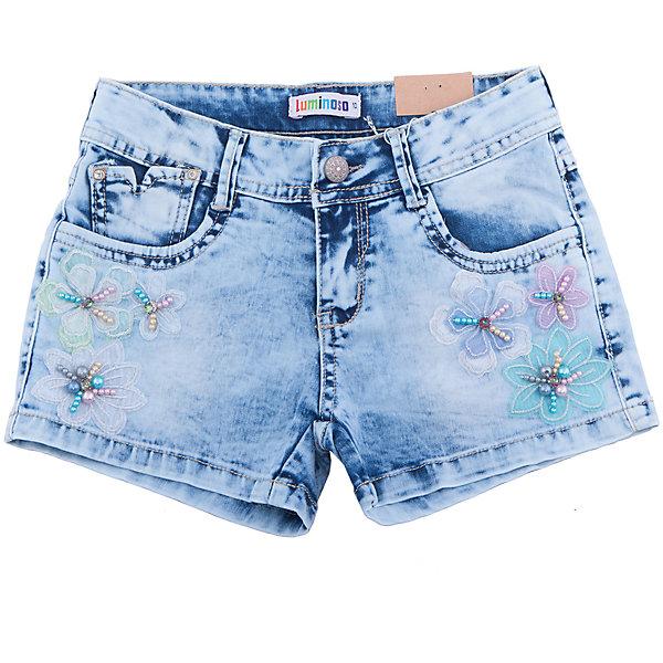 Шорты джинсовые для девочки LuminosoШорты, бриджи, капри<br>Короткие джинсовые шорты для девочки. Низ декорирован цветами и бусинами. Имеется два боковых кармана.  Застегиваются на молнию и пуговицу.<br>Состав:<br>98% хлопок, 2% эластан<br>Ширина мм: 191; Глубина мм: 10; Высота мм: 175; Вес г: 273; Цвет: синий; Возраст от месяцев: 108; Возраст до месяцев: 120; Пол: Женский; Возраст: Детский; Размер: 140,134,146,152,158,164; SKU: 5413298;