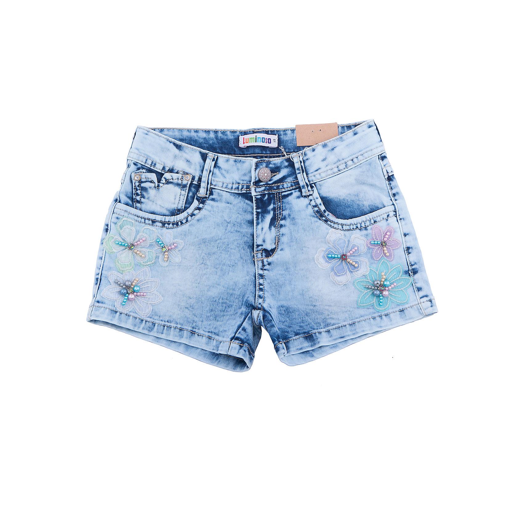 Шорты джинсовые для девочки LuminosoДжинсовая одежда<br>Короткие джинсовые шорты для девочки. Низ декорирован цветами и бусинами. Имеется два боковых кармана.  Застегиваются на молнию и пуговицу.<br>Состав:<br>98% хлопок, 2% эластан<br><br>Ширина мм: 191<br>Глубина мм: 10<br>Высота мм: 175<br>Вес г: 273<br>Цвет: синий<br>Возраст от месяцев: 108<br>Возраст до месяцев: 120<br>Пол: Женский<br>Возраст: Детский<br>Размер: 140,134,164,158,152,146<br>SKU: 5413298