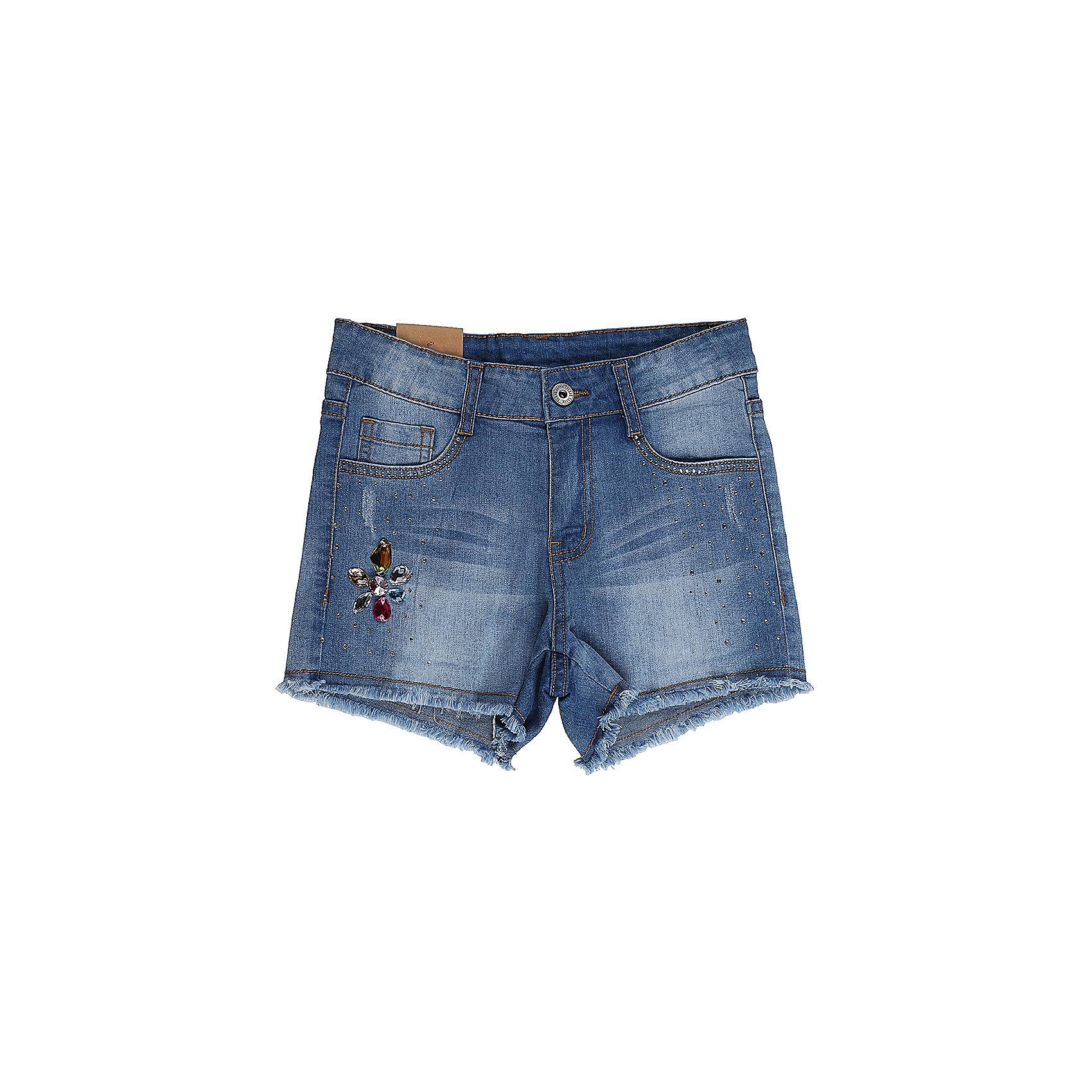 Шорты джинсовые для девочки Sweet BerryДжинсовая одежда<br>Джинсовые шорты для девочки Декорированые крупными стразами. Застегиваются на молнию и пуговицу.  В боковой части пояса находятся вшитые эластичные ленты, регулирующие посадку по талии.<br>Состав:<br>98%хлопок 2%эластан<br><br>Ширина мм: 191<br>Глубина мм: 10<br>Высота мм: 175<br>Вес г: 273<br>Цвет: голубой<br>Возраст от месяцев: 96<br>Возраст до месяцев: 108<br>Пол: Женский<br>Возраст: Детский<br>Размер: 134,140,146,152,158,164<br>SKU: 5413305