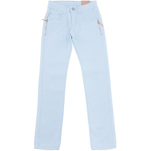 Брюки для девочки LuminosoБрюки<br>Стильные джинсовые брюки для девочки. Зауженный крой. Застегиваются на молнию и пуговицу. Шлевки на поясе рассчитаны под ремень. В боковой части пояса находятся вшитые эластичные ленты, регулирующие посадку по талии.<br>Состав:<br>98%хлопок 2%эластан<br>Ширина мм: 215; Глубина мм: 88; Высота мм: 191; Вес г: 336; Цвет: голубой; Возраст от месяцев: 108; Возраст до месяцев: 120; Пол: Женский; Возраст: Детский; Размер: 140,134,164,158,152,146; SKU: 5413319;