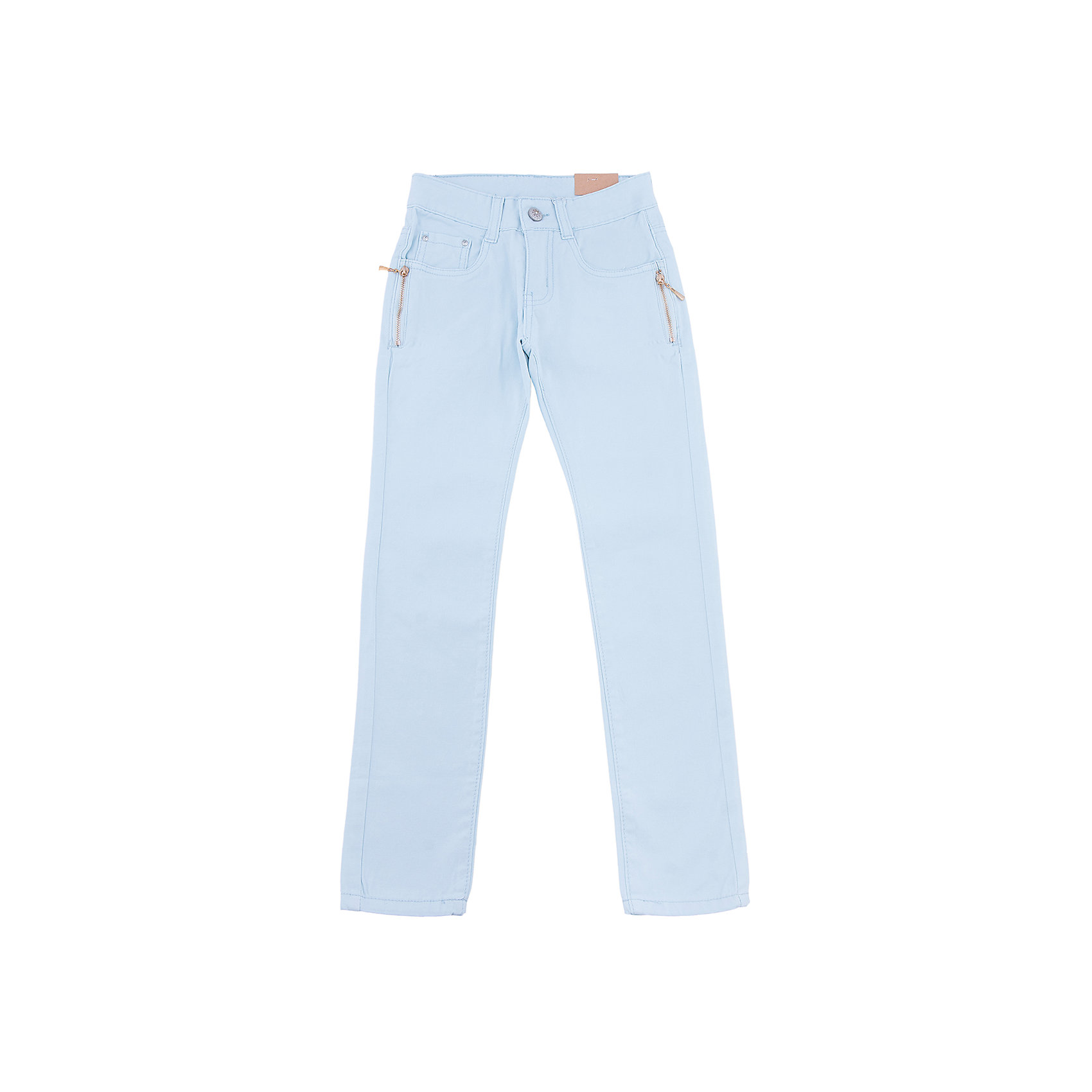 Брюки для девочки LuminosoБрюки<br>Стильные джинсовые брюки для девочки. Зауженный крой. Застегиваются на молнию и пуговицу. Шлевки на поясе рассчитаны под ремень. В боковой части пояса находятся вшитые эластичные ленты, регулирующие посадку по талии.<br>Состав:<br>98%хлопок 2%эластан<br><br>Ширина мм: 215<br>Глубина мм: 88<br>Высота мм: 191<br>Вес г: 336<br>Цвет: голубой<br>Возраст от месяцев: 96<br>Возраст до месяцев: 108<br>Пол: Женский<br>Возраст: Детский<br>Размер: 134,140,146,152,158,164<br>SKU: 5413319