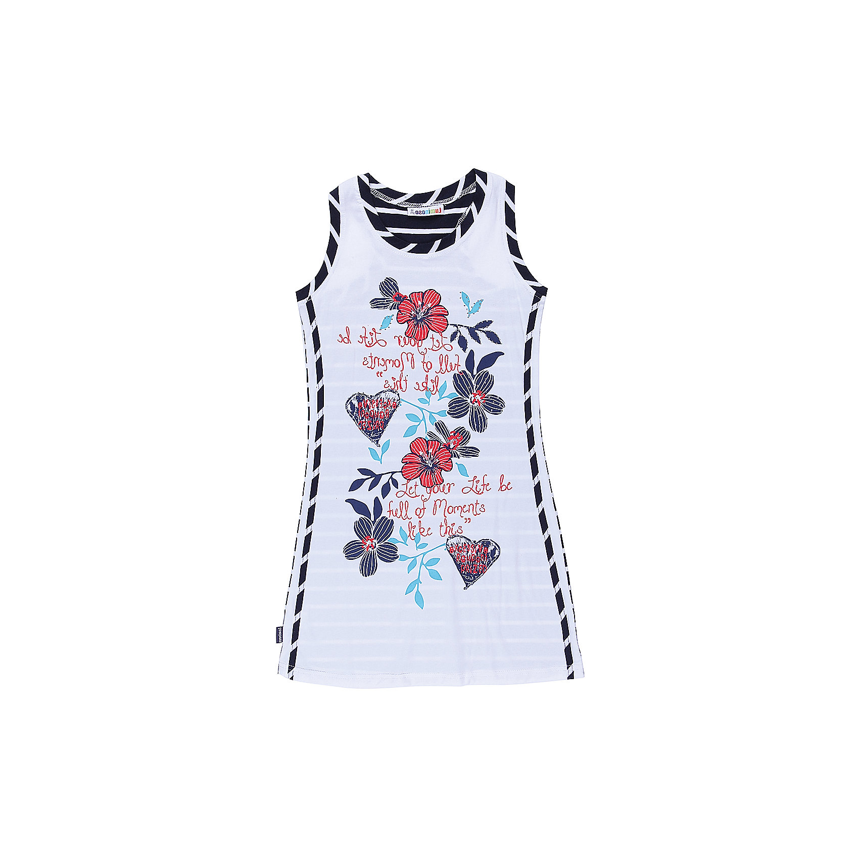 Платье для девочки LuminosoТрикотажное платье для девочки из комбинированной ткани. Декорирован ярким принтом. Приталенный крой.<br>Состав:<br>95%хлопок 5%эластан<br><br>Ширина мм: 236<br>Глубина мм: 16<br>Высота мм: 184<br>Вес г: 177<br>Цвет: белый<br>Возраст от месяцев: 96<br>Возраст до месяцев: 108<br>Пол: Женский<br>Возраст: Детский<br>Размер: 134,140,146,152,158,164<br>SKU: 5413326