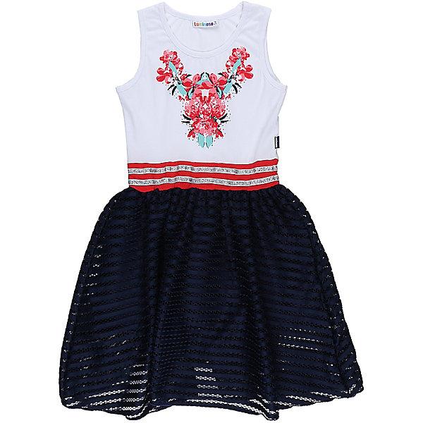 Платье для девочки LuminosoОдежда<br>Трикотажное платье для девочки из комбинированной ткани. Верх изделия декорирован ярким принтом, низ изделия выполнен из контрастной ткани. Приталенный крой.<br>Состав:<br>95%хлопок 5%эластан<br>Ширина мм: 236; Глубина мм: 16; Высота мм: 184; Вес г: 177; Цвет: белый; Возраст от месяцев: 108; Возраст до месяцев: 120; Пол: Женский; Возраст: Детский; Размер: 140,134,164,158,152,146; SKU: 5413368;