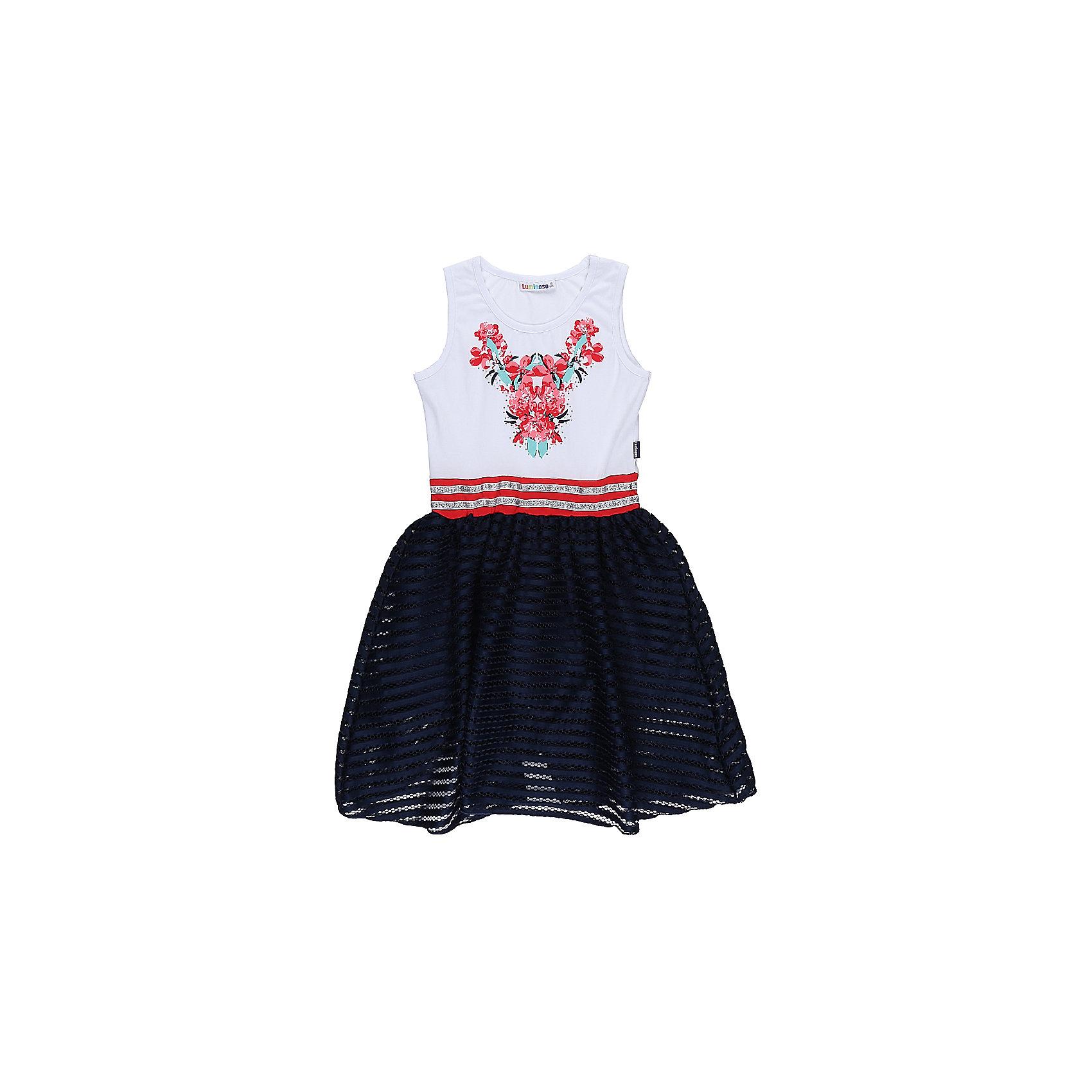 Платье для девочки LuminosoОдежда<br>Трикотажное платье для девочки из комбинированной ткани. Верх изделия декорирован ярким принтом, низ изделия выполнен из контрастной ткани. Приталенный крой.<br>Состав:<br>95%хлопок 5%эластан<br><br>Ширина мм: 236<br>Глубина мм: 16<br>Высота мм: 184<br>Вес г: 177<br>Цвет: разноцветный<br>Возраст от месяцев: 96<br>Возраст до месяцев: 108<br>Пол: Женский<br>Возраст: Детский<br>Размер: 134,140,146,152,158,164<br>SKU: 5413368