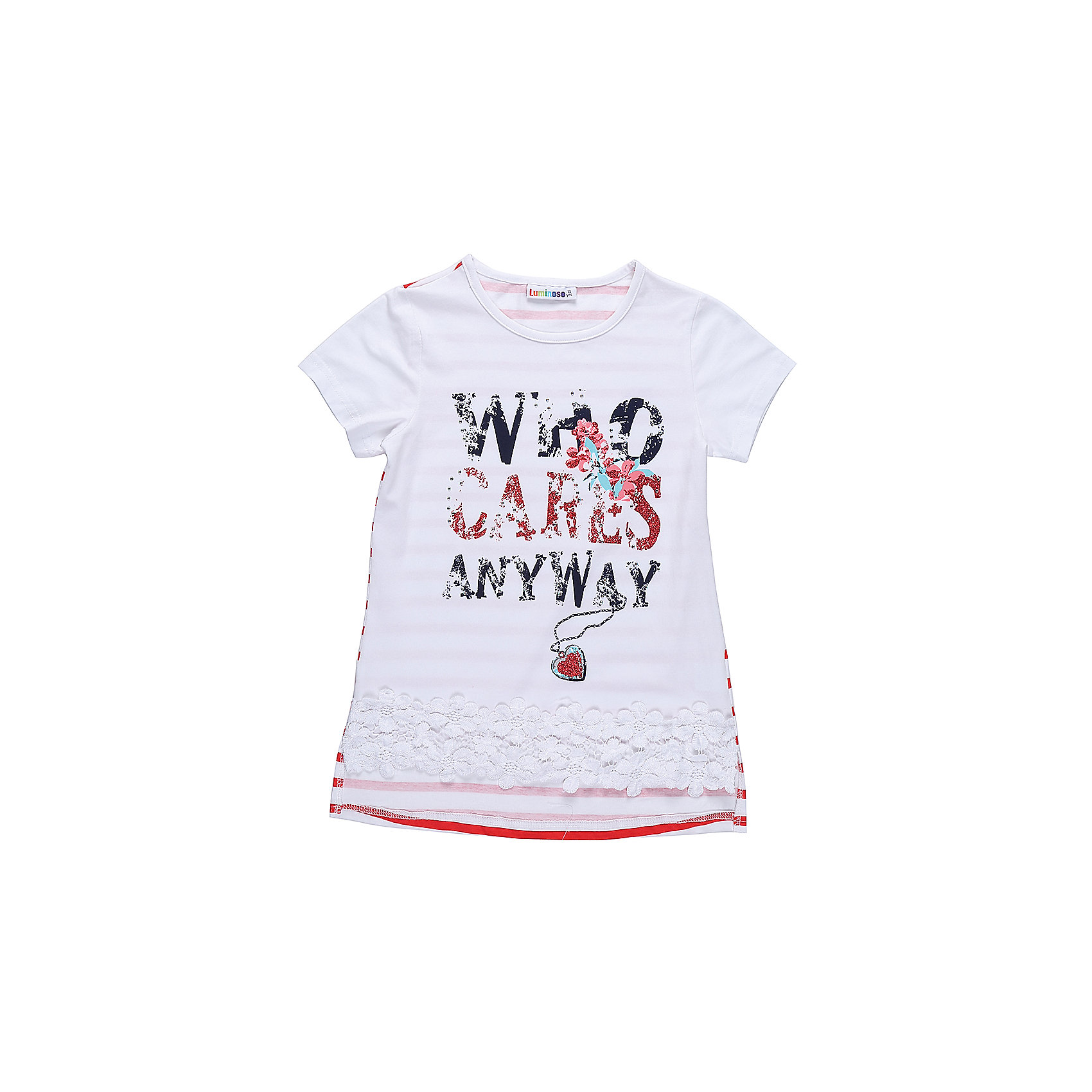 Футболка для девочки LuminosoФутболки, поло и топы<br>Стильная футболка из трикотажной ткани для девочки с коротким рукавом и удлиненной спинкой. Декорирована яркой аппликацией, стразами и плетенным кружевом по низу изделия.<br>Состав:<br>95%хлопок 5%эластан<br><br>Ширина мм: 199<br>Глубина мм: 10<br>Высота мм: 161<br>Вес г: 151<br>Цвет: белый<br>Возраст от месяцев: 96<br>Возраст до месяцев: 108<br>Пол: Женский<br>Возраст: Детский<br>Размер: 152,158,164,134,140,146<br>SKU: 5413410