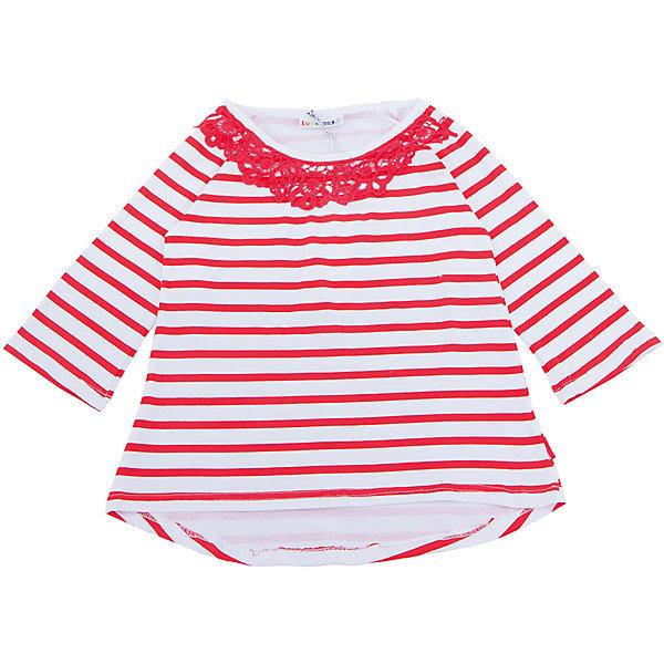 Футболка с длинным рукавом для девочки LuminosoФутболки с длинным рукавом<br>Стильная футболка из  трикотажной ткани в полоску для девочки с рукавом 3/4 и удлиненной спинкой. Декорирована кружевным плитением.<br>Состав:<br>95%хлопок 5%эластан<br>Ширина мм: 199; Глубина мм: 10; Высота мм: 161; Вес г: 151; Цвет: белый; Возраст от месяцев: 120; Возраст до месяцев: 132; Пол: Женский; Возраст: Детский; Размер: 146,134,158,140,164,152; SKU: 5413431;