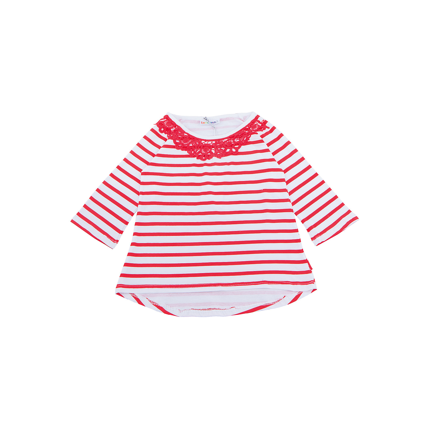 Футболка с длинным рукавом для девочки LuminosoФутболки с длинным рукавом<br>Стильная футболка из  трикотажной ткани в полоску для девочки с рукавом 3/4 и удлиненной спинкой. Декорирована кружевным плитением.<br>Состав:<br>95%хлопок 5%эластан<br><br>Ширина мм: 199<br>Глубина мм: 10<br>Высота мм: 161<br>Вес г: 151<br>Цвет: разноцветный<br>Возраст от месяцев: 96<br>Возраст до месяцев: 108<br>Пол: Женский<br>Возраст: Детский<br>Размер: 134,164,140,146,152,158<br>SKU: 5413431