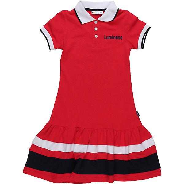 Платье для девочки LuminosoПлатья и сарафаны<br>Платье для девочки из хлопковой ткани с контрастным отложенным воротничком. Декорирован воланом по низу изделия. Прямой крой.<br>Состав:<br>100% хлопок<br>Ширина мм: 236; Глубина мм: 16; Высота мм: 184; Вес г: 177; Цвет: красный; Возраст от месяцев: 96; Возраст до месяцев: 108; Пол: Женский; Возраст: Детский; Размер: 134,140,164,158,152,146; SKU: 5413476;
