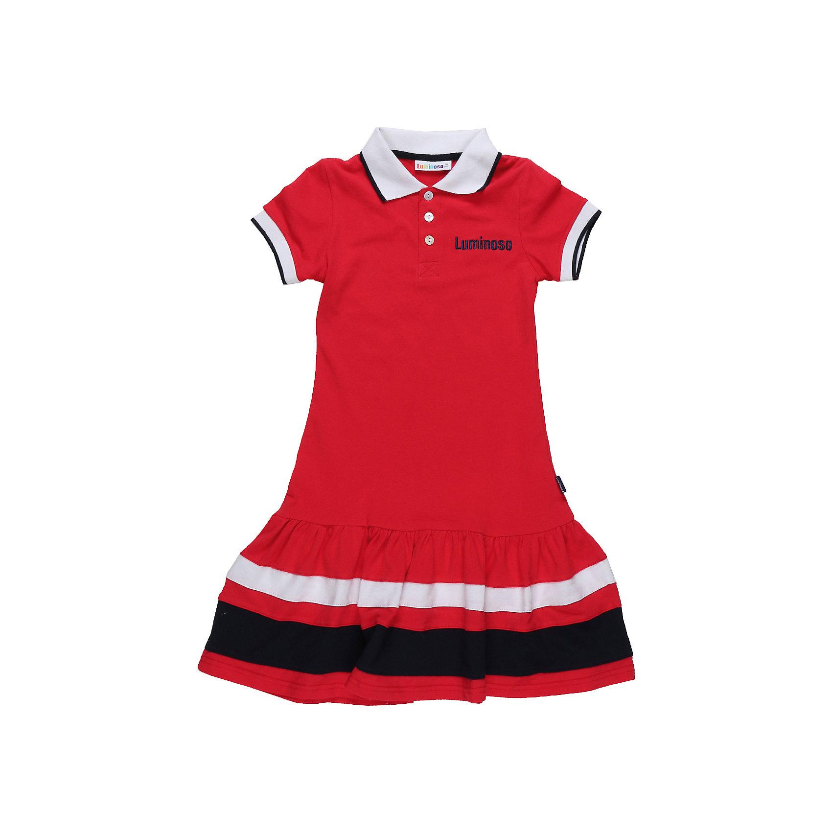 Платье для девочки LuminosoПлатье для девочки из хлопковой ткани с контрастным отложенным воротничком. Декорирован воланом по низу изделия. Прямой крой.<br>Состав:<br>100% хлопок<br><br>Ширина мм: 236<br>Глубина мм: 16<br>Высота мм: 184<br>Вес г: 177<br>Цвет: красный<br>Возраст от месяцев: 144<br>Возраст до месяцев: 156<br>Пол: Женский<br>Возраст: Детский<br>Размер: 158,134,164,140,146,152<br>SKU: 5413476