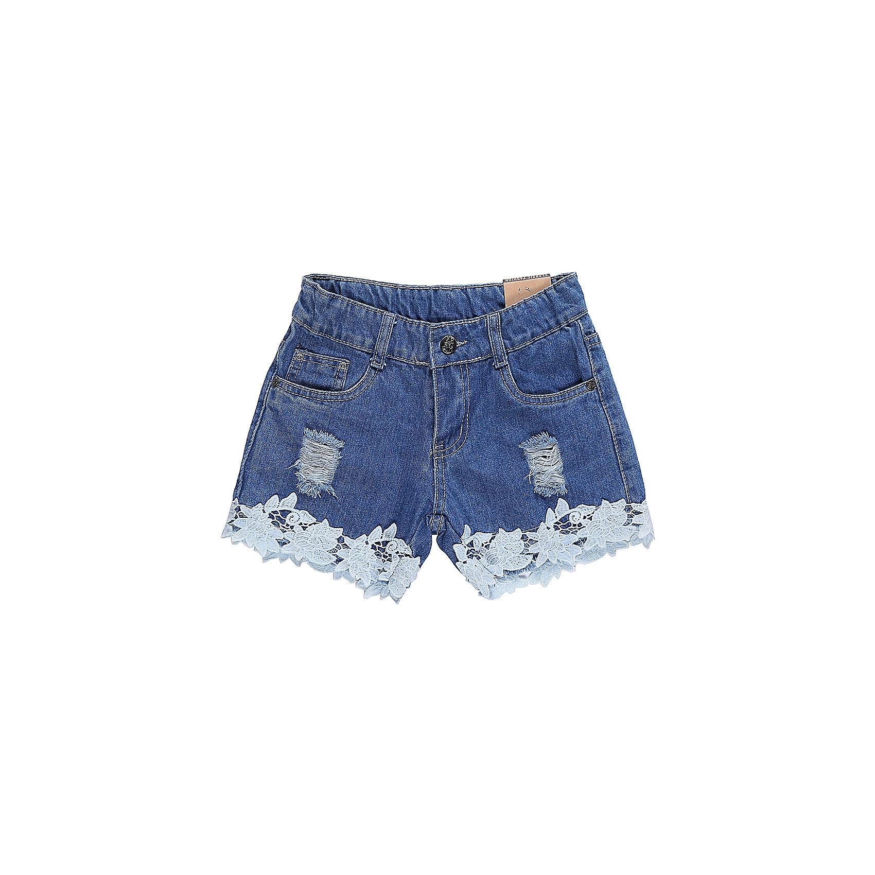 Шорты джинсовые для девочки LuminosoДжинсовая одежда<br>Джинсовые шорты для девочки Декорированые плетеным кружевом по низу изделия и эффектом рваной джинсы. Застегиваются на молнию и пуговицу.  В боковой части пояса находятся вшитые эластичные ленты, регулирующие посадку по талии.<br>Состав:<br>100%хлопок<br><br>Ширина мм: 191<br>Глубина мм: 10<br>Высота мм: 175<br>Вес г: 273<br>Цвет: синий<br>Возраст от месяцев: 96<br>Возраст до месяцев: 108<br>Пол: Женский<br>Возраст: Детский<br>Размер: 134,140,146,152,158,164<br>SKU: 5413497