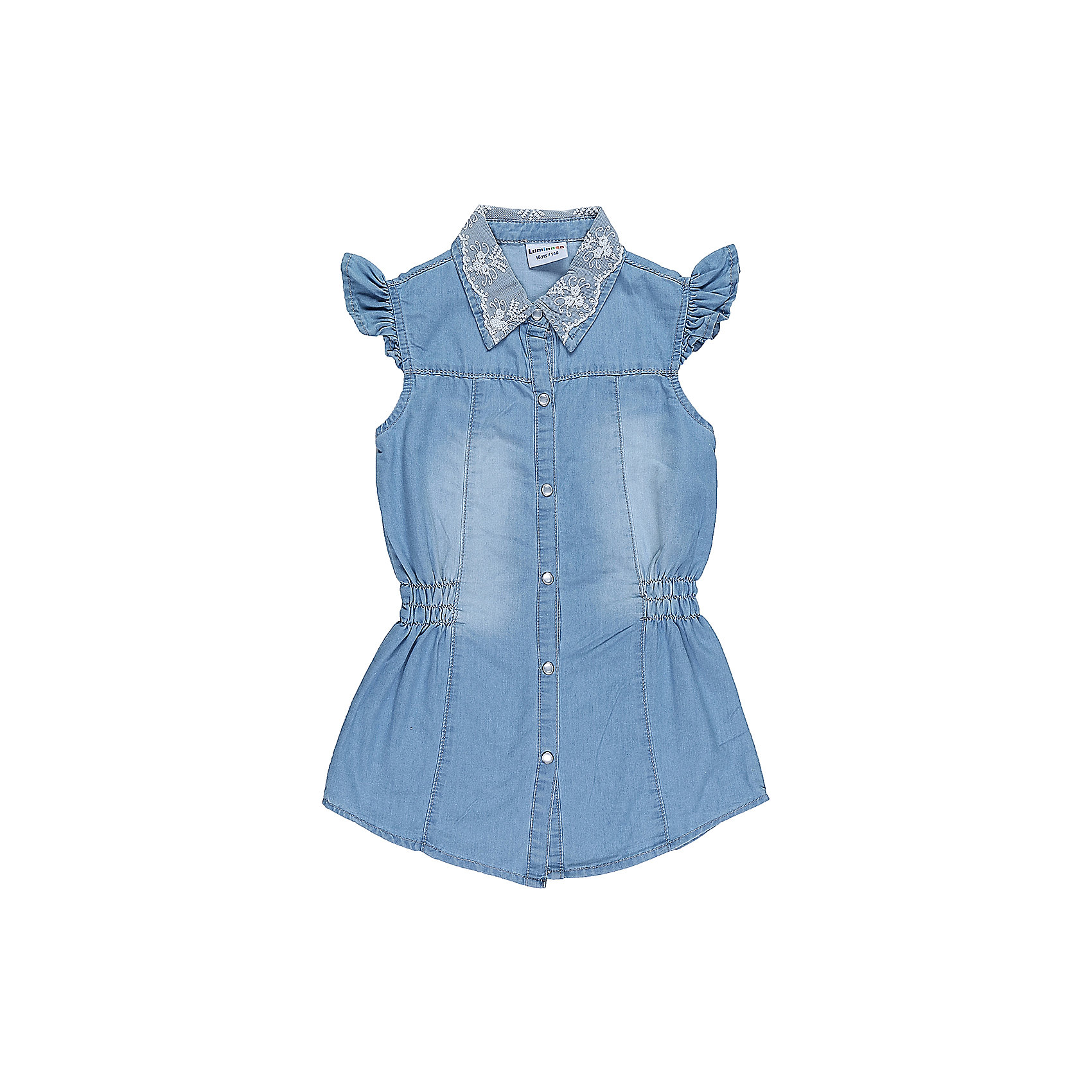 Блузка джинсовая для девочки LuminosoБлузки и рубашки<br>Удлиненная, приталенная блузка для девочки из облегченной джинсовой ткани. Рукава крылышки. Отложной воротничок декорированн кружевом. Застегивается на кнопки.<br>Состав:<br>100%хлопок<br><br>Ширина мм: 186<br>Глубина мм: 87<br>Высота мм: 198<br>Вес г: 197<br>Цвет: голубой<br>Возраст от месяцев: 96<br>Возраст до месяцев: 108<br>Пол: Женский<br>Возраст: Детский<br>Размер: 134,140,146,152,158,164<br>SKU: 5413504