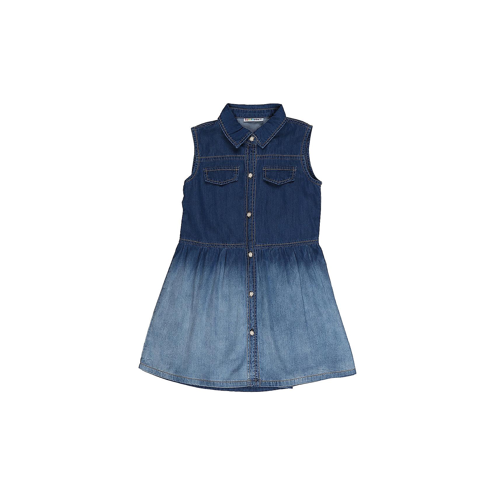 Платье джинсовое для девочки LuminosoДжинсовая одежда<br>Платье из тонкого хлопка под джинсу для девочки с отложным воротничком. Застегивается на оригинальные пуговки.<br>Состав:<br>98%хлопок 2%эластан<br><br>Ширина мм: 236<br>Глубина мм: 16<br>Высота мм: 184<br>Вес г: 177<br>Цвет: синий<br>Возраст от месяцев: 132<br>Возраст до месяцев: 144<br>Пол: Женский<br>Возраст: Детский<br>Размер: 152,146,140,134,164,158<br>SKU: 5413559