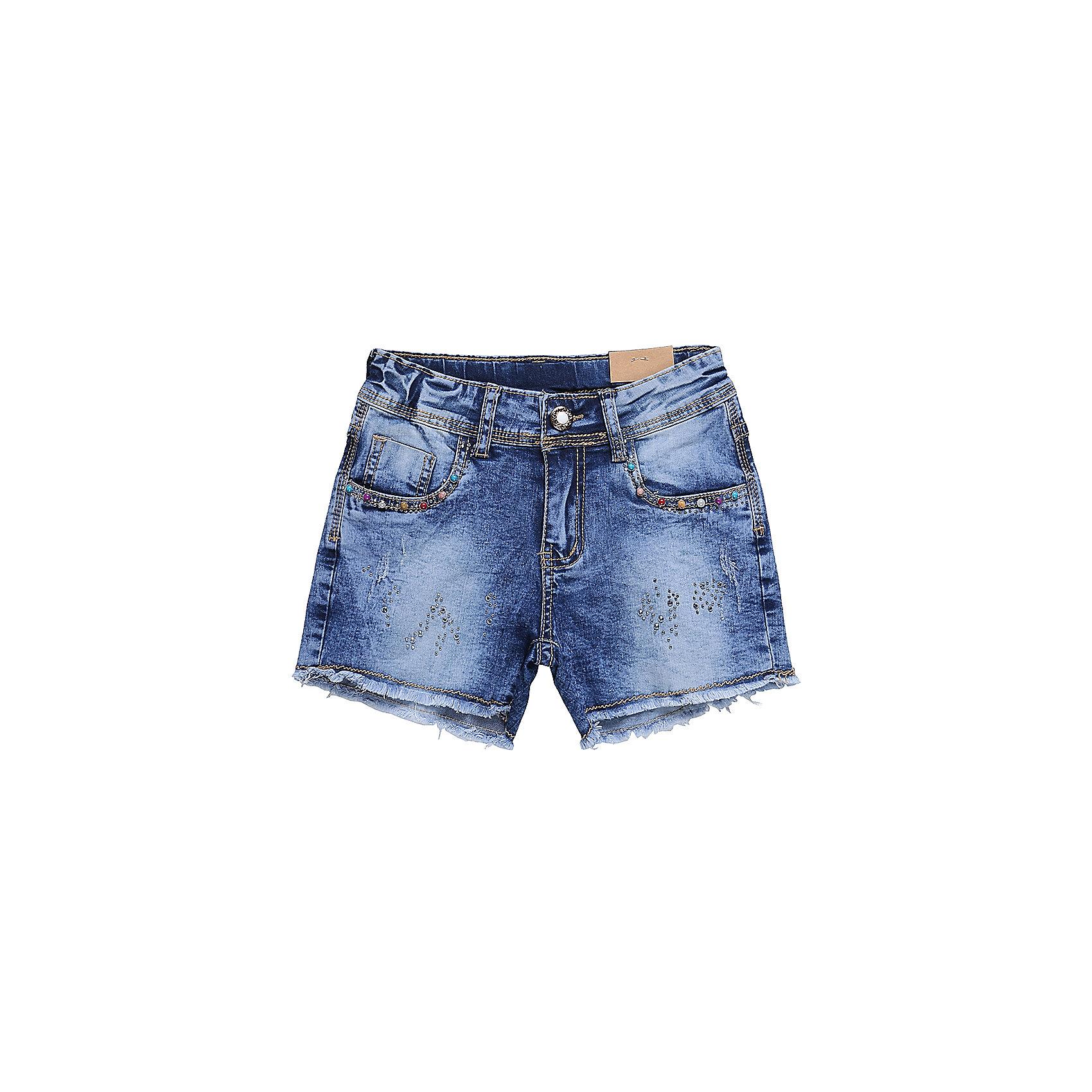 Шорты джинсовые для девочки LuminosoШорты, бриджи, капри<br>Джинсовые шорты для девочки. Декорированы яркими стразами. Застегиваются на молнию и пуговицу.   В боковой части пояса находятся вшитые эластичные ленты, регулирующие посадку по талии.<br>Состав:<br>98%хлопок 2%эластан<br><br>Ширина мм: 191<br>Глубина мм: 10<br>Высота мм: 175<br>Вес г: 273<br>Цвет: синий<br>Возраст от месяцев: 96<br>Возраст до месяцев: 108<br>Пол: Женский<br>Возраст: Детский<br>Размер: 134,140,146,152,158,164<br>SKU: 5413591