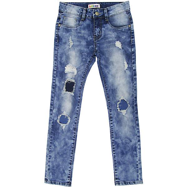 Джинсы для девочки LuminosoДжинсовая одежда<br>Джинсы  для девочки с оригинальной варкой. Декорированы заплатками, эффектами потертости и рваной джинсы. Имеют зауженный крой, среднюю посадку. Застегиваются на молнию и пуговицу. Шлевки на поясе рассчитаны под ремень. В боковой части пояса находятся вшитые эластичные ленты, регулирующие посадку по талии.<br>Состав:<br>98%хлопок 2%эластан<br>Ширина мм: 215; Глубина мм: 88; Высота мм: 191; Вес г: 336; Цвет: синий; Возраст от месяцев: 96; Возраст до месяцев: 108; Пол: Женский; Возраст: Детский; Размер: 134,140,146,152,158,164; SKU: 5413598;