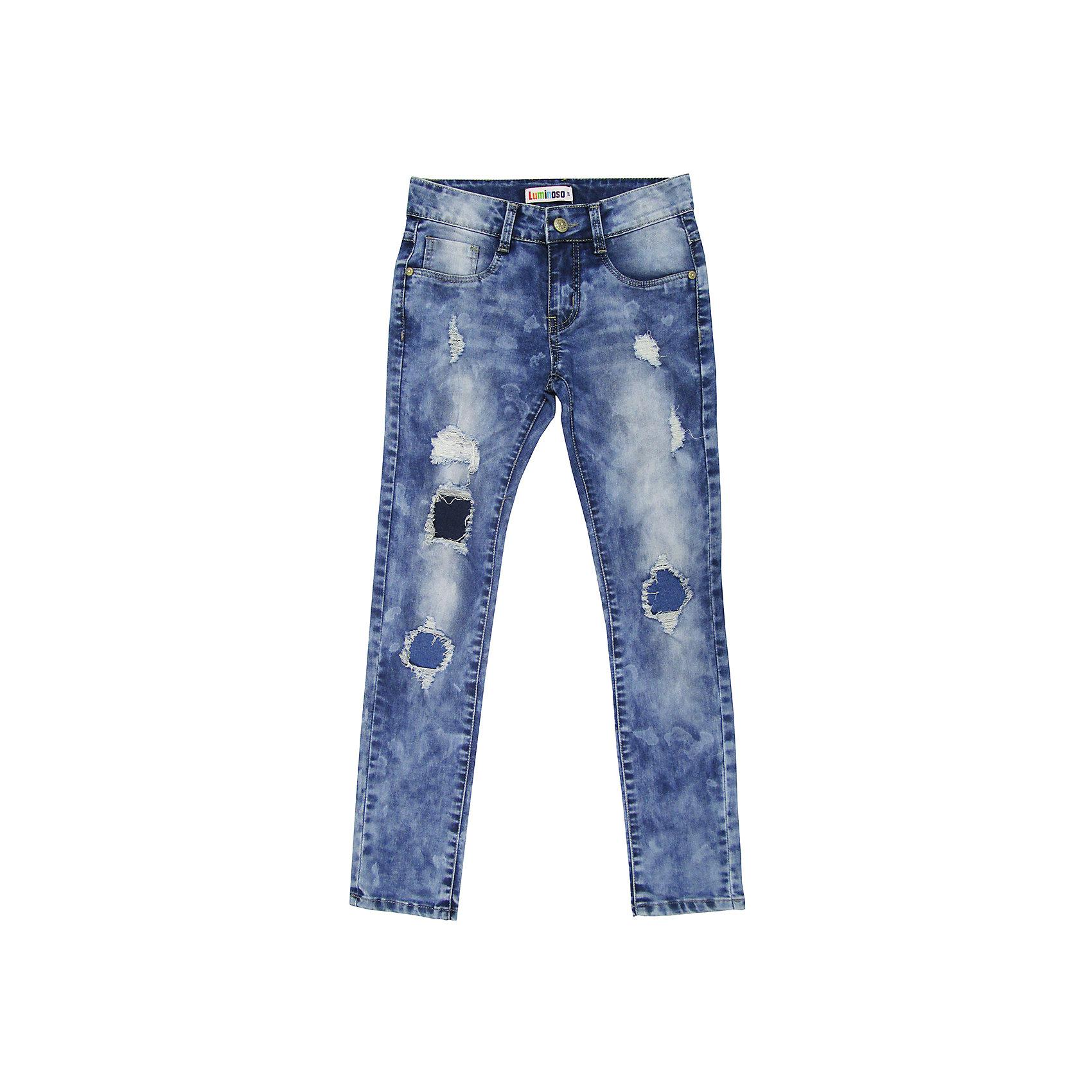 Джинсы для девочки LuminosoДжинсовая одежда<br>Джинсы  для девочки с оригинальной варкой. Декорированы заплатками, эффектами потертости и рваной джинсы. Имеют зауженный крой, среднюю посадку. Застегиваются на молнию и пуговицу. Шлевки на поясе рассчитаны под ремень. В боковой части пояса находятся вшитые эластичные ленты, регулирующие посадку по талии.<br>Состав:<br>98%хлопок 2%эластан<br><br>Ширина мм: 215<br>Глубина мм: 88<br>Высота мм: 191<br>Вес г: 336<br>Цвет: синий<br>Возраст от месяцев: 96<br>Возраст до месяцев: 108<br>Пол: Женский<br>Возраст: Детский<br>Размер: 134,140,146,152,158,164<br>SKU: 5413598