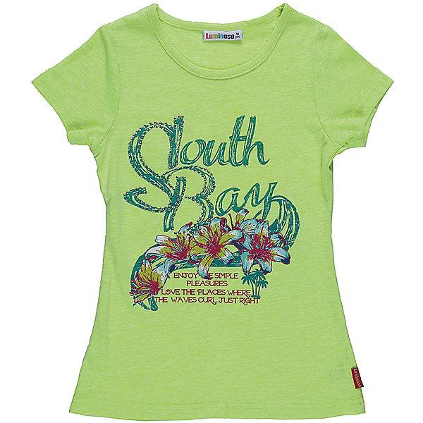 Футболка для девочки LuminosoФутболки, поло и топы<br>Яркая футболка из трикотажной ткани для девочки с коротким рукавом. Декорирована нежным цветочным принтом. Приталенный крой.<br>Состав:<br>45%вискоза 15%хлопок 40%полиэстер<br><br>Ширина мм: 199<br>Глубина мм: 10<br>Высота мм: 161<br>Вес г: 151<br>Цвет: зеленый<br>Возраст от месяцев: 108<br>Возраст до месяцев: 120<br>Пол: Женский<br>Возраст: Детский<br>Размер: 140,134,164,158,152,146<br>SKU: 5413605