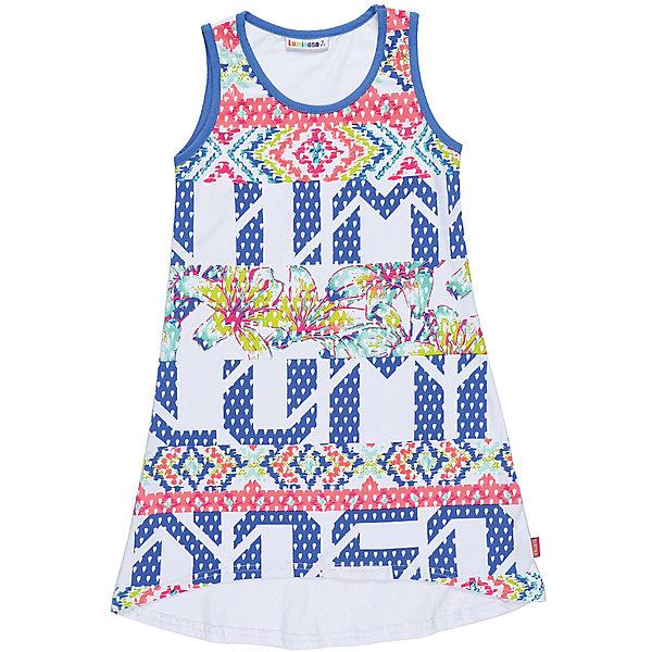 Платье для девочки LuminosoПлатья и сарафаны<br>Трикотажное платье для девочки с ассиметричным низом. Декорированно ярким принтом и контрастной отделкой горловины и пройм. Свободный крой.<br>Состав:<br>95%хлопок 5%эластан<br>Ширина мм: 236; Глубина мм: 16; Высота мм: 184; Вес г: 177; Цвет: белый; Возраст от месяцев: 144; Возраст до месяцев: 156; Пол: Женский; Возраст: Детский; Размер: 158,152,146,140,164,134; SKU: 5413612;