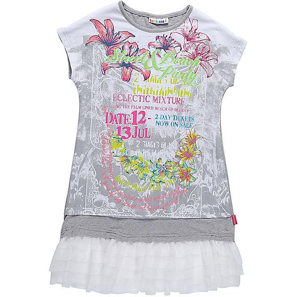 Платье для девочки LuminosoПлатья и сарафаны<br>Платья для девочки из трикотажной ткани с ярким принтом. Низ изделия декорирован воланом из тафты. Свободный крой.<br>Состав:<br>48%полиэстер 36%вискоза  11.7%хлопок 4.3%эластан<br>Ширина мм: 236; Глубина мм: 16; Высота мм: 184; Вес г: 177; Цвет: белый; Возраст от месяцев: 108; Возраст до месяцев: 120; Пол: Женский; Возраст: Детский; Размер: 140,146,152,158,164,134; SKU: 5413619;