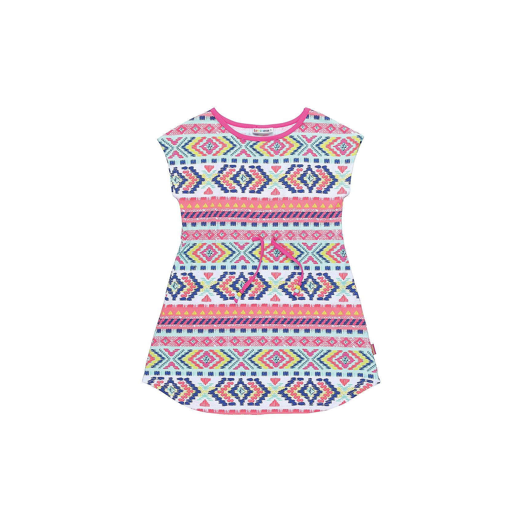 Платье для девочки LuminosoПлатья и сарафаны<br>Трикотажное платье для девочки из принтованной ткани с пояском. Приталенный крой.<br>Состав:<br>95%хлопок 5%эластан<br><br>Ширина мм: 236<br>Глубина мм: 16<br>Высота мм: 184<br>Вес г: 177<br>Цвет: белый<br>Возраст от месяцев: 108<br>Возраст до месяцев: 120<br>Пол: Женский<br>Возраст: Детский<br>Размер: 140,134,146,152,158,164<br>SKU: 5413626